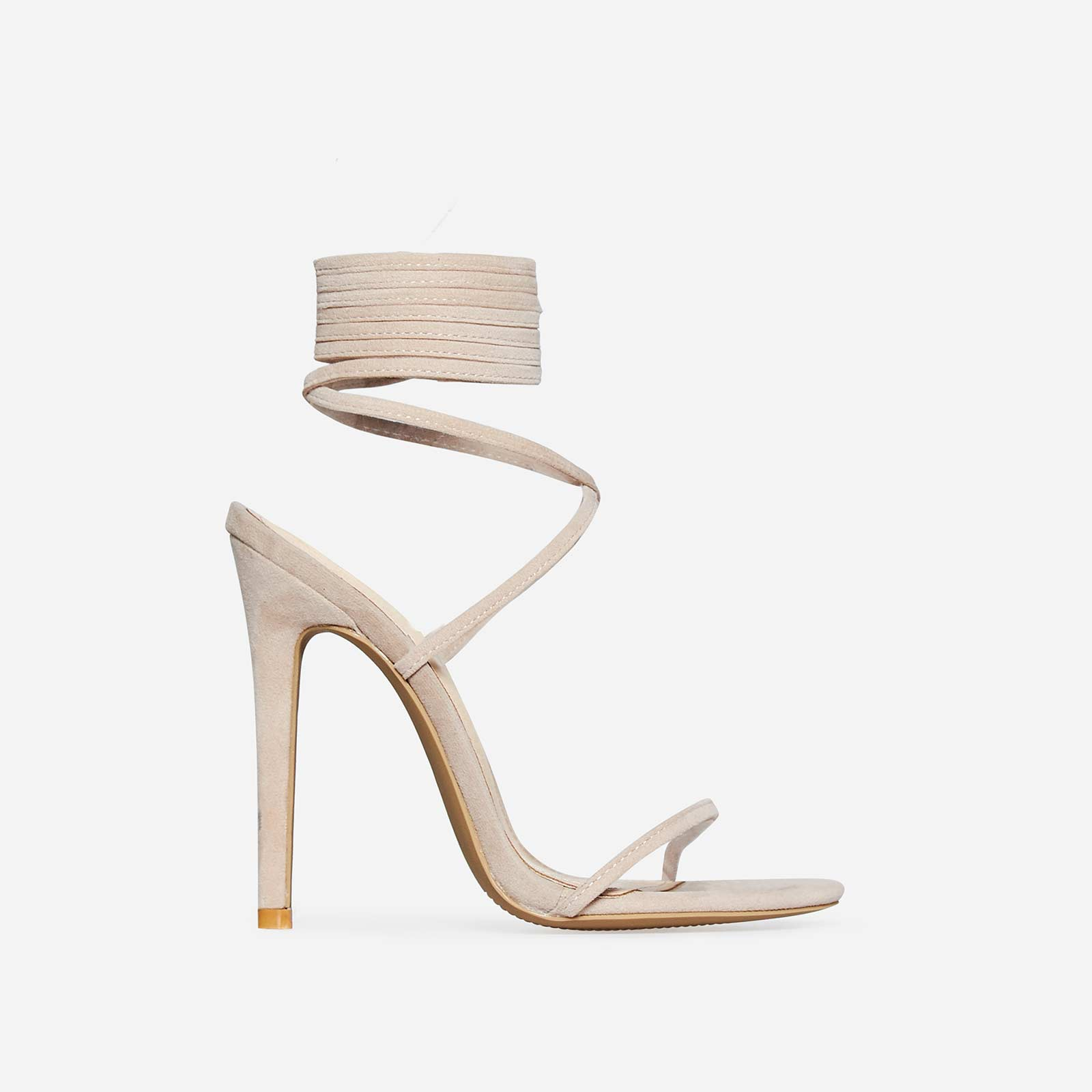 Ali Lace Up Heel In Nude Faux Suede