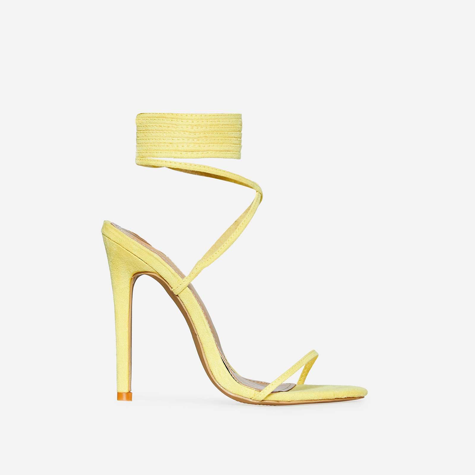 Ali Lace Up Heel In Lemon Yellow Faux Suede