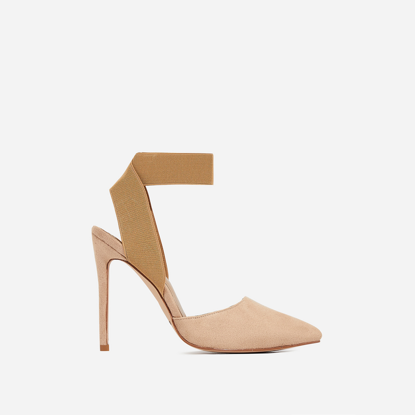 Alina Elasticated Court Heel In Nude Faux Suede