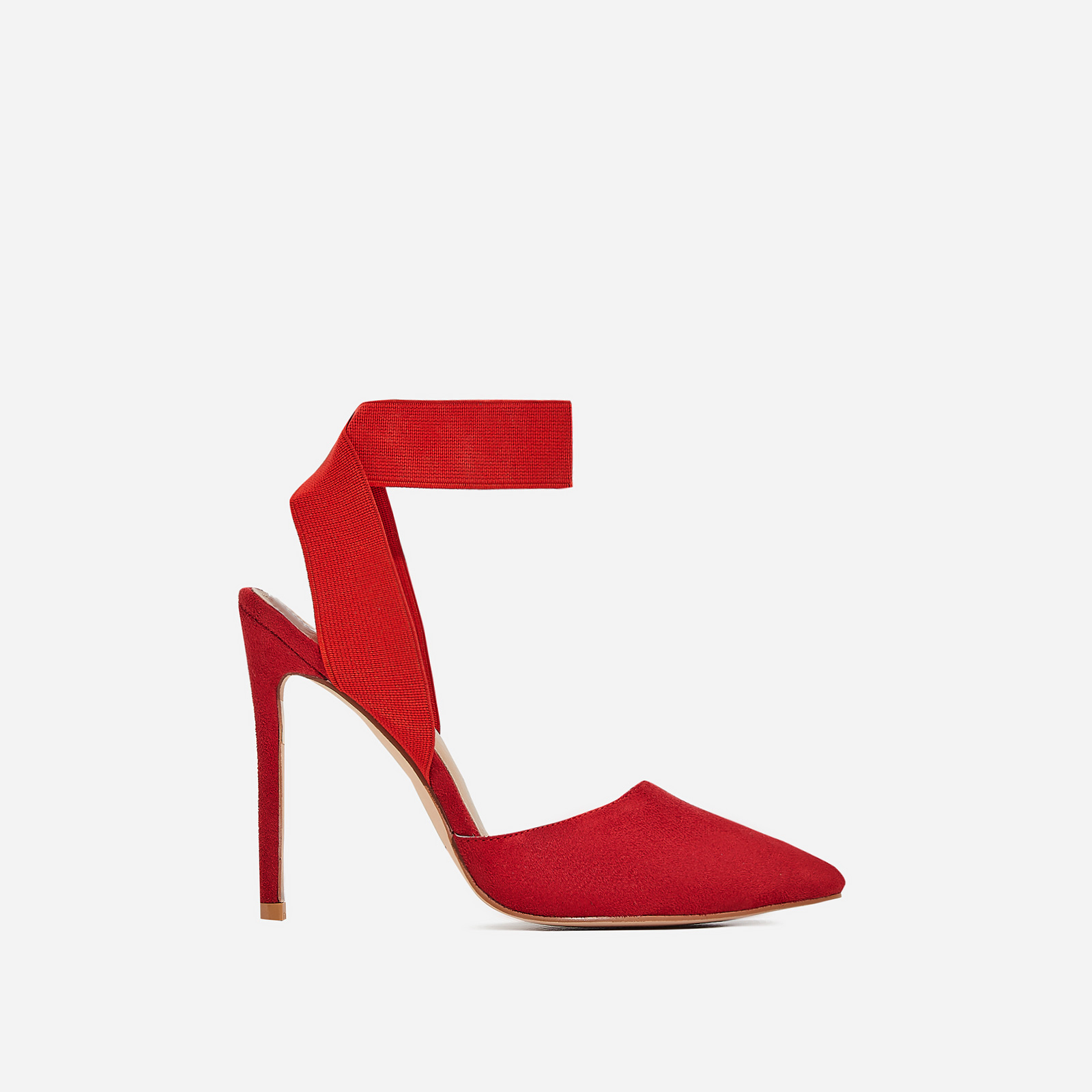 Alina Elasticated Court Heel In Red Faux Suede