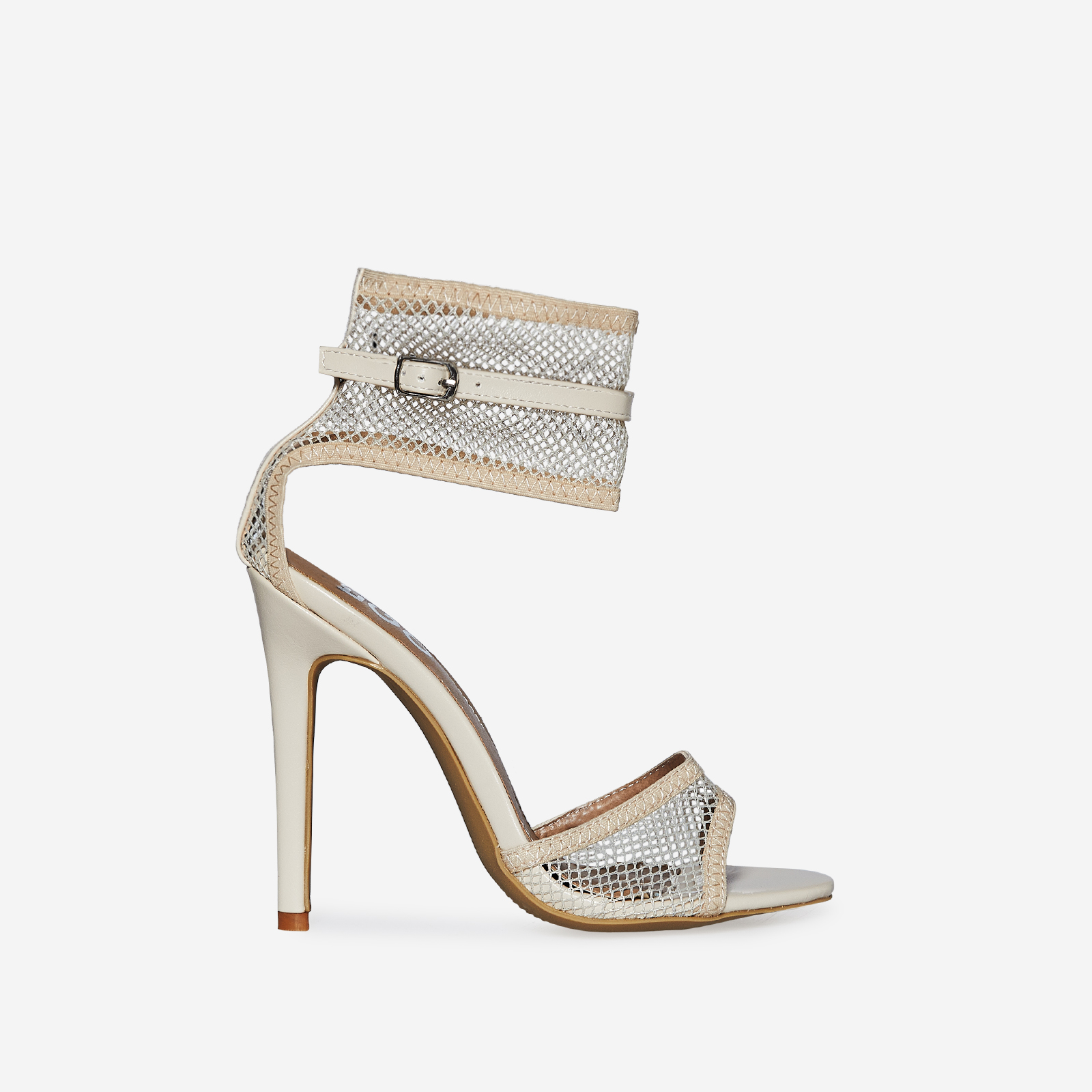 Alise Fishnet Heel In Nude Faux Leather
