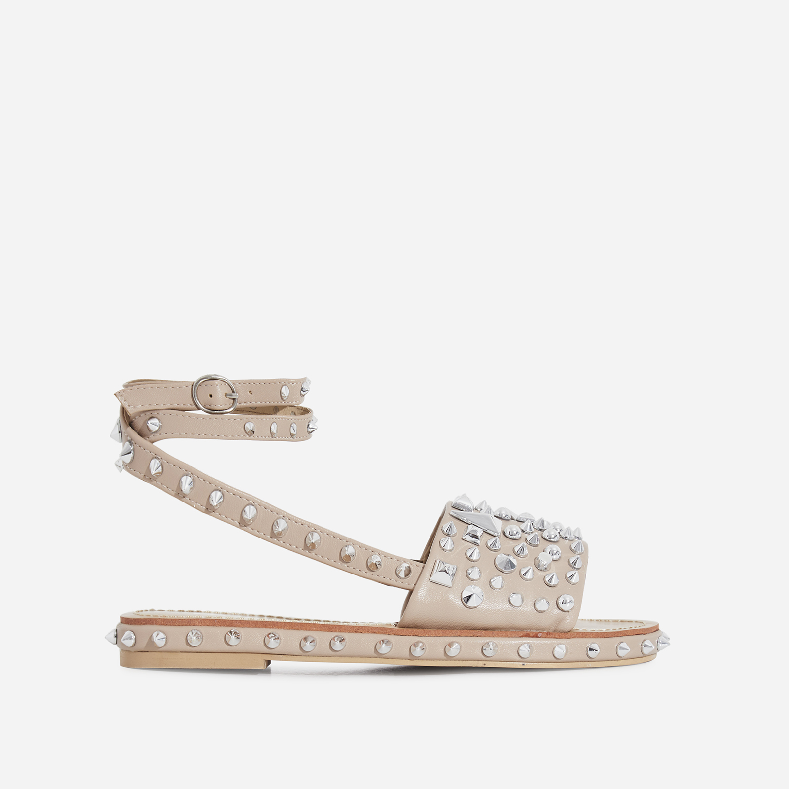 Alpha Lace Up Studded Detail Slider In Nude Faux Leather