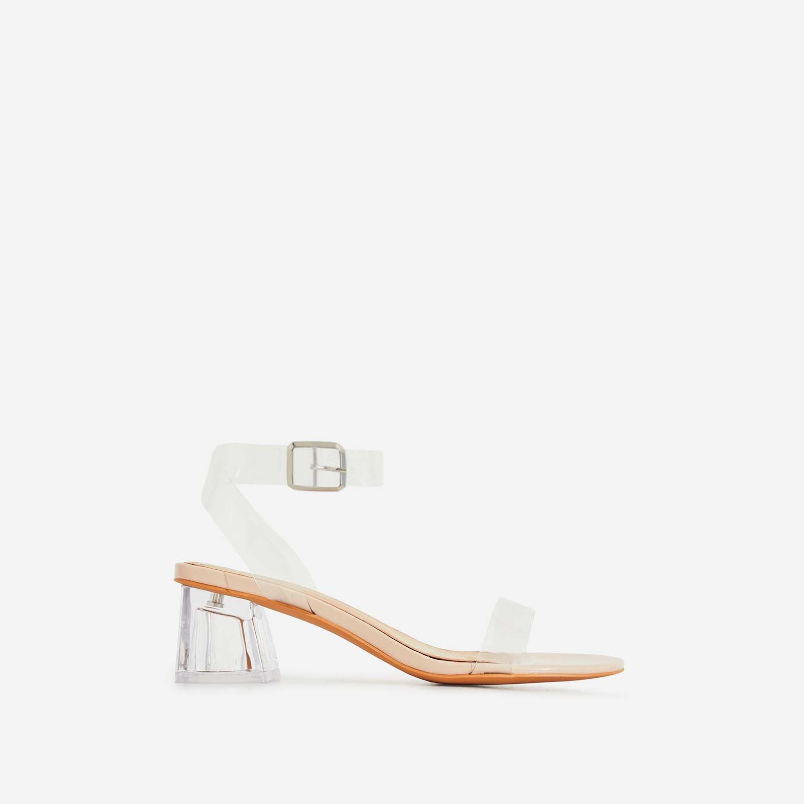 Alya Barley There Perspex Mid Block Heel In Nude Patent