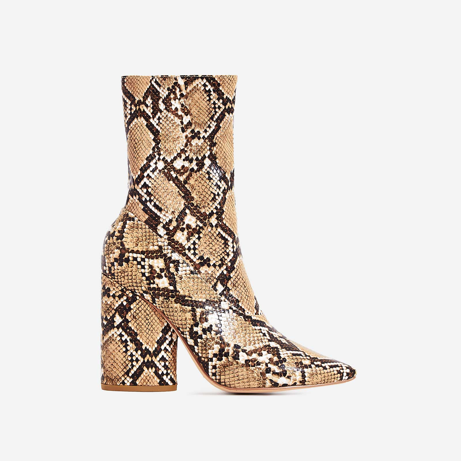 Ameera Block Heel Pointed Ankle Boot In Nude Snake Print Faux Leather