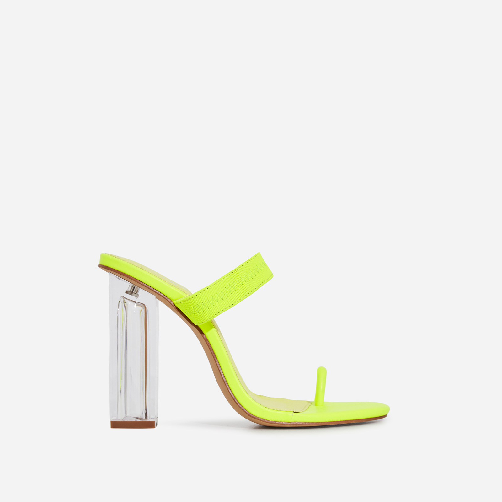 Amy Toe Strap Perspex Block Heel Mule In Lime Green Faux Leather