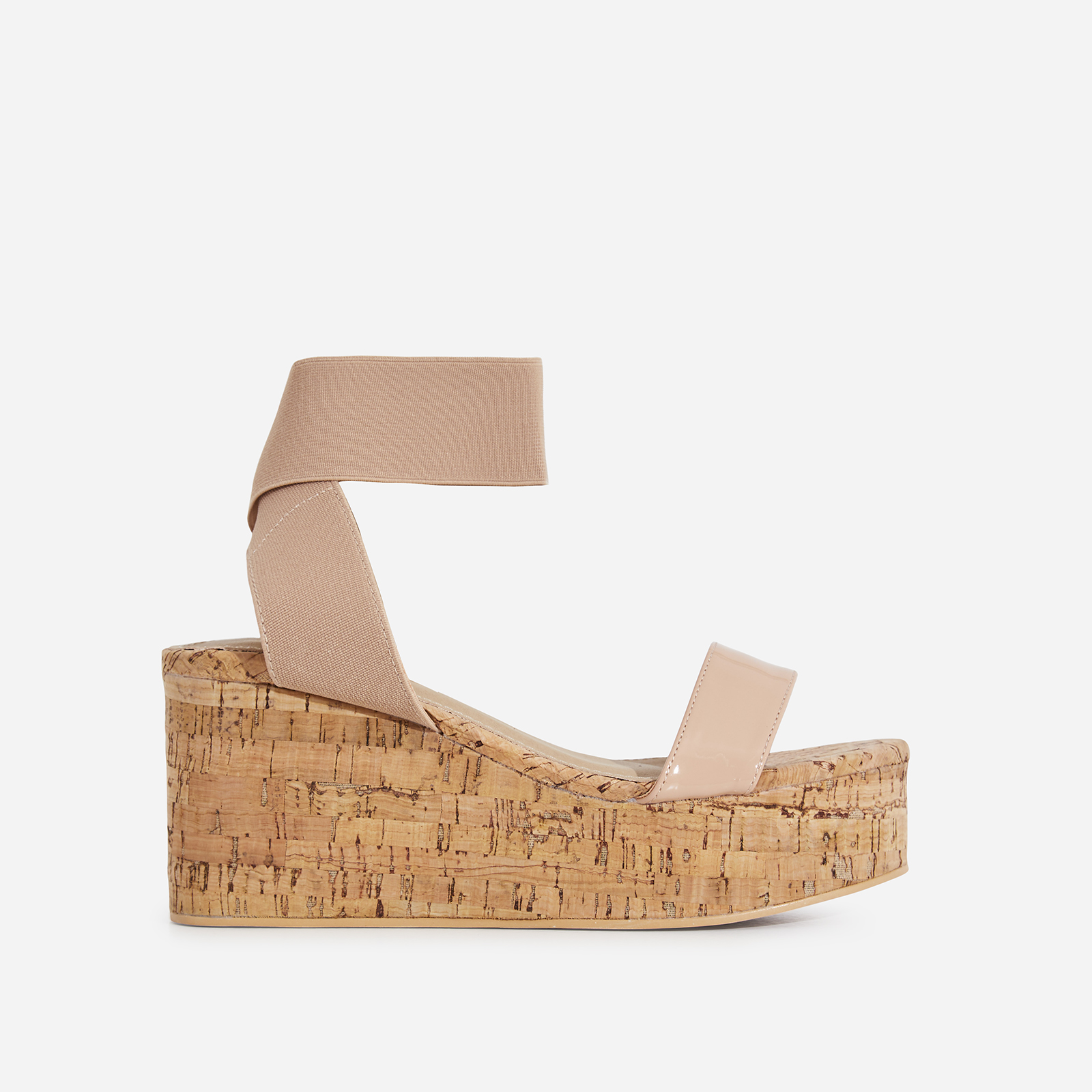 Andie Elasticated Wedge Sandal In Blush Pink Patent
