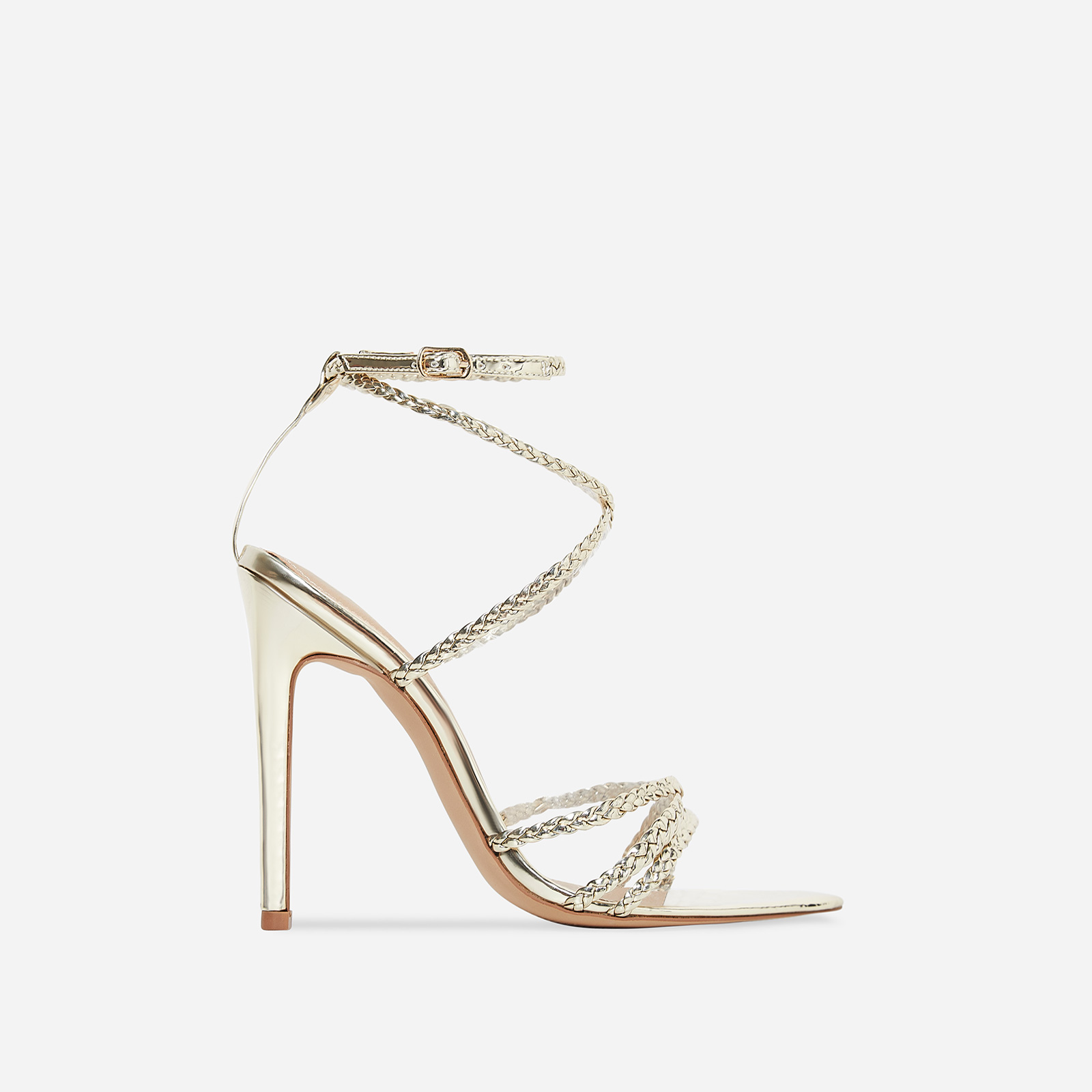 Angela Plaited Pointed Heel In Gold Patent