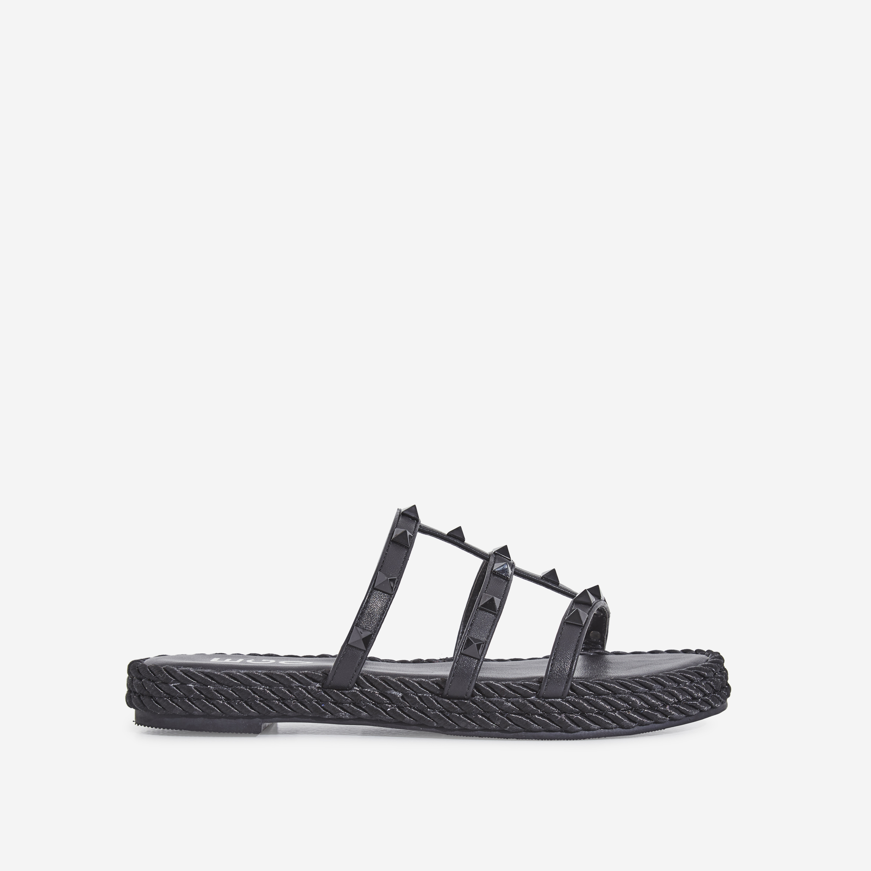 Apollo Studded Detail Rope Espadrille Sandal In Black Faux Leather
