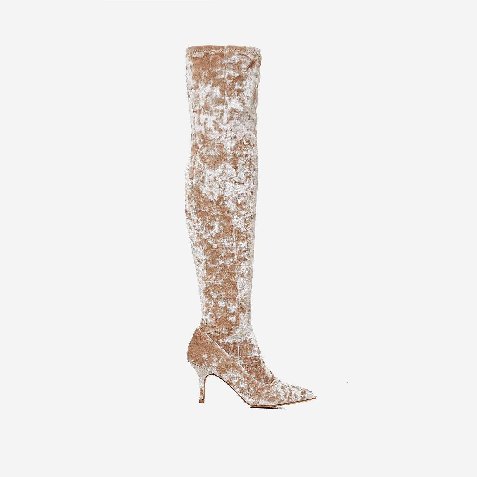 Arden Kitten Heel Over The Knee Long Boot In Nude Velvet