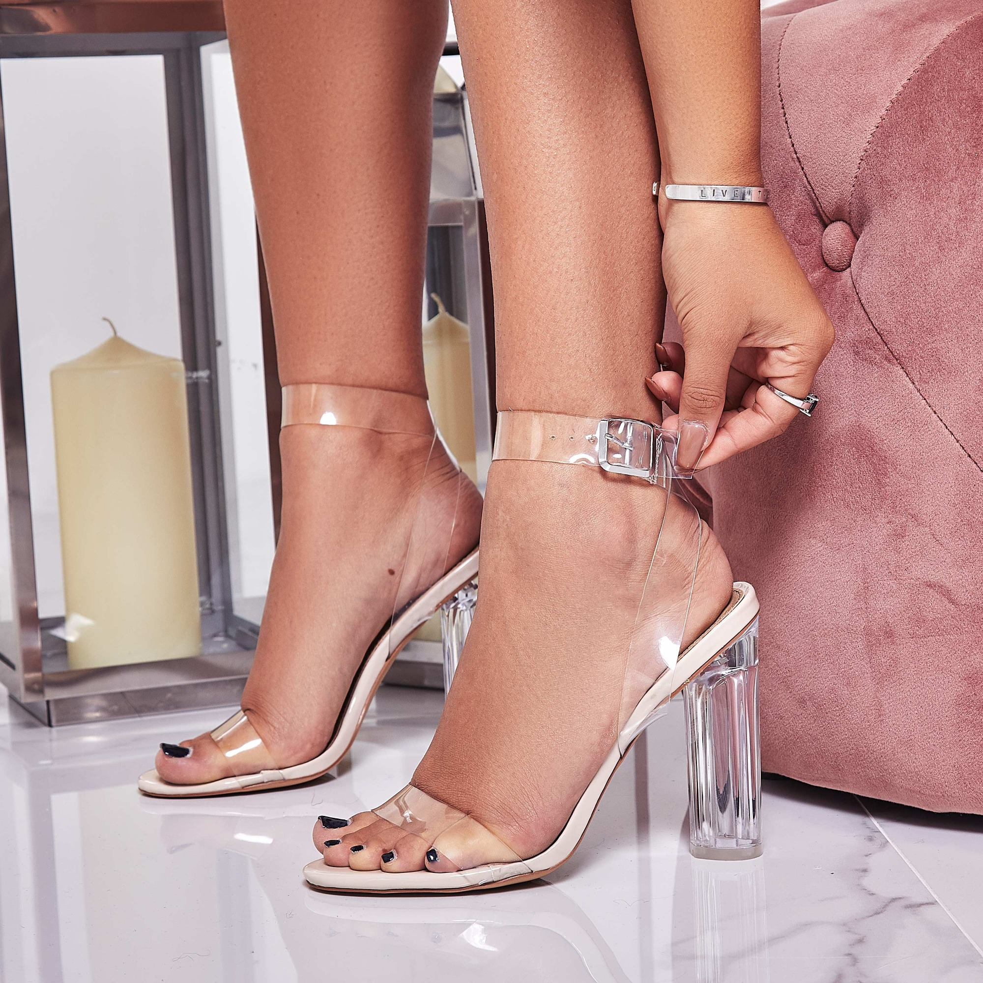 d11a751feb6 Ariana Strappy Sandal In Clear Perspex Image 1