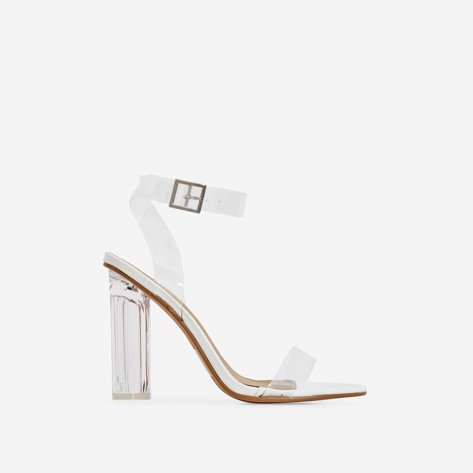 Ariana Barely There Perspex Block Heel In White Faux Leather