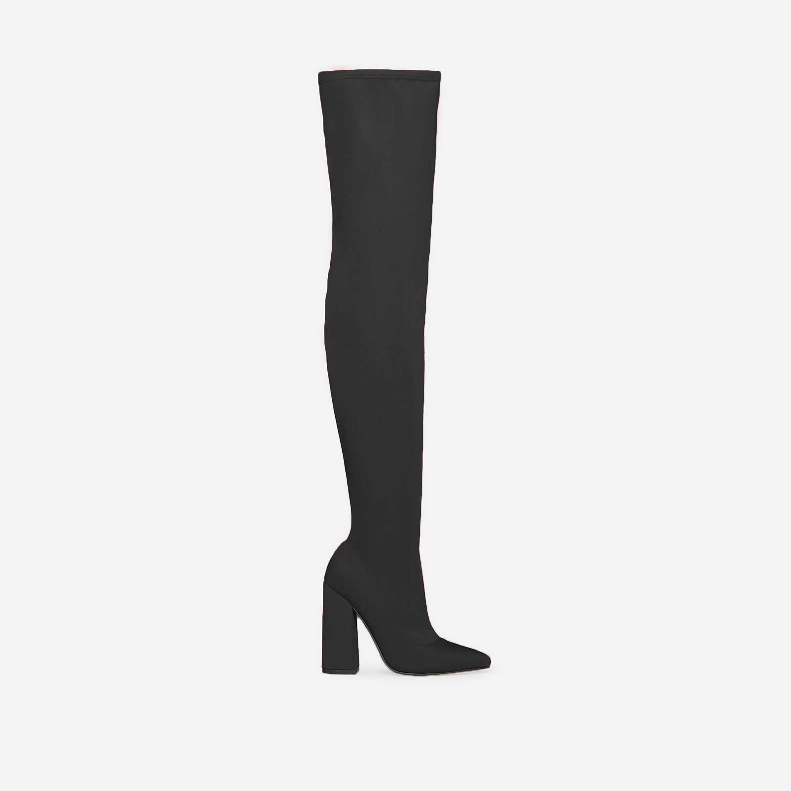Arielle Flared Heel Thigh High Long Boot In Black Lycra