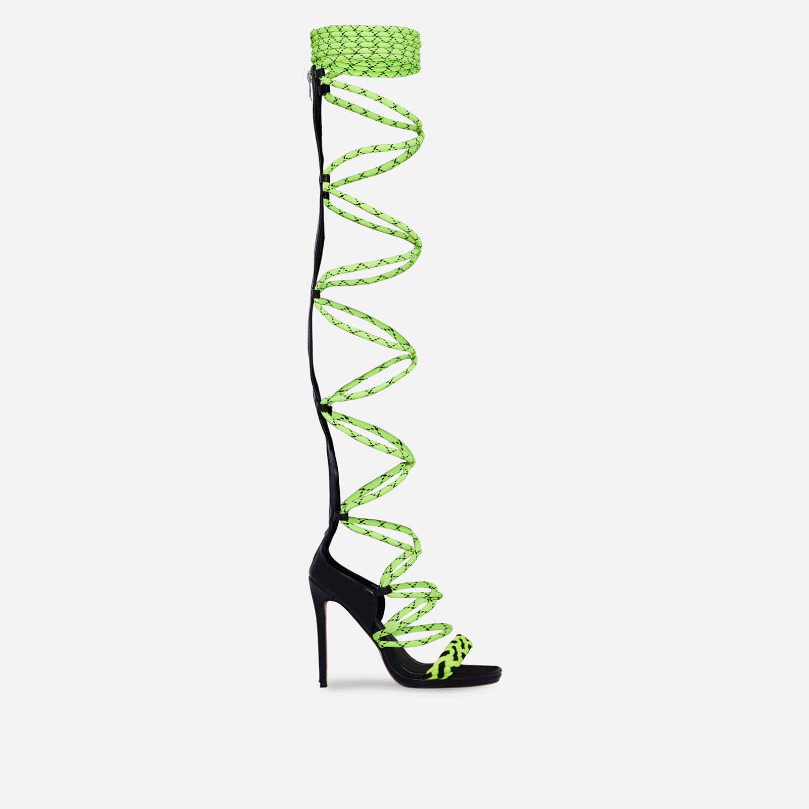Astro Thigh High Lime Lace Up Heel In Black Faux Leather