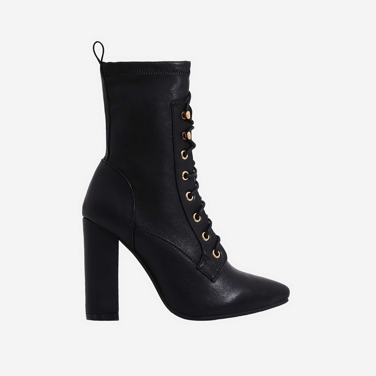 Maud Lace Up Block Heel Ankle Boot In Black Faux Leather