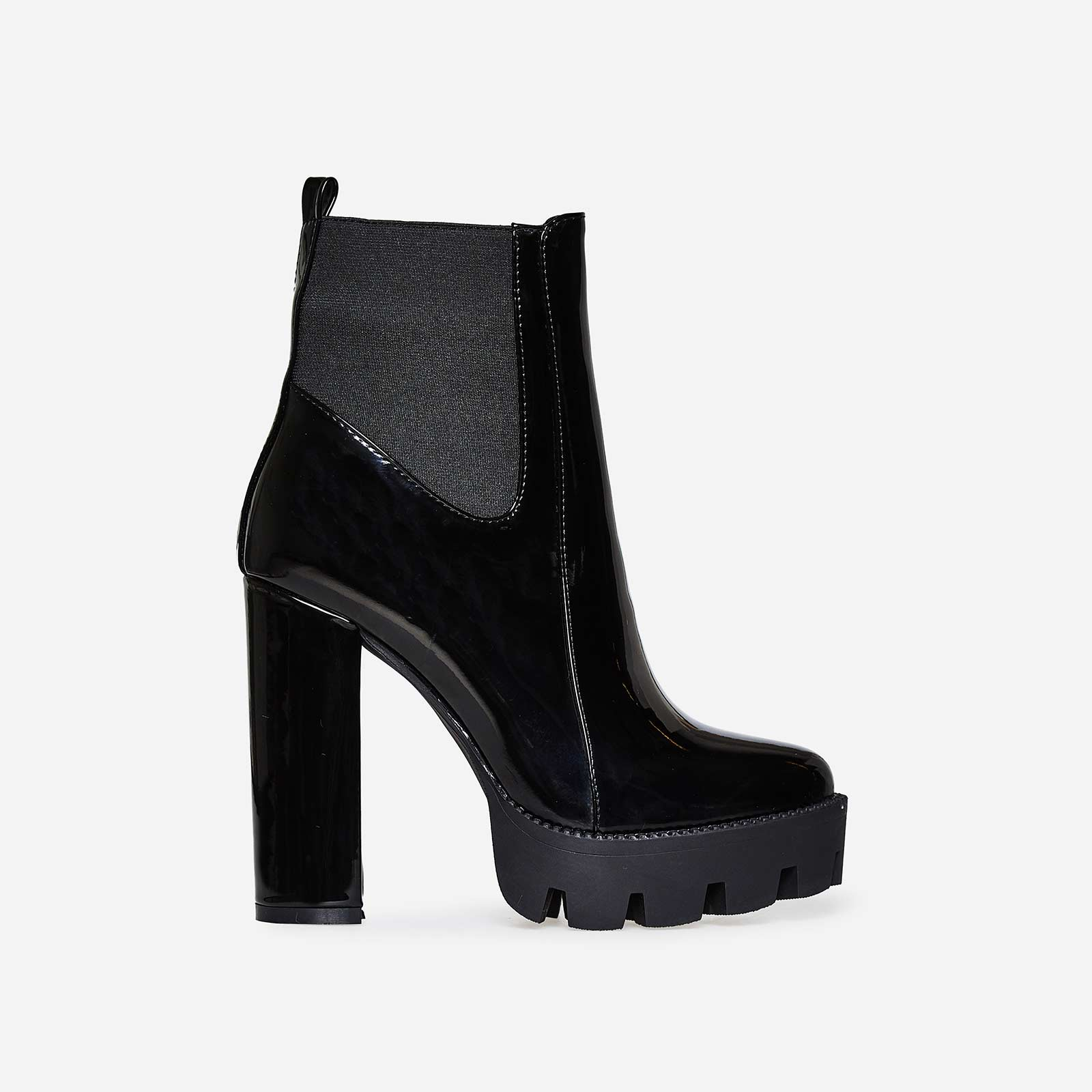 Atlas Platform Biker Boot In Black Patent