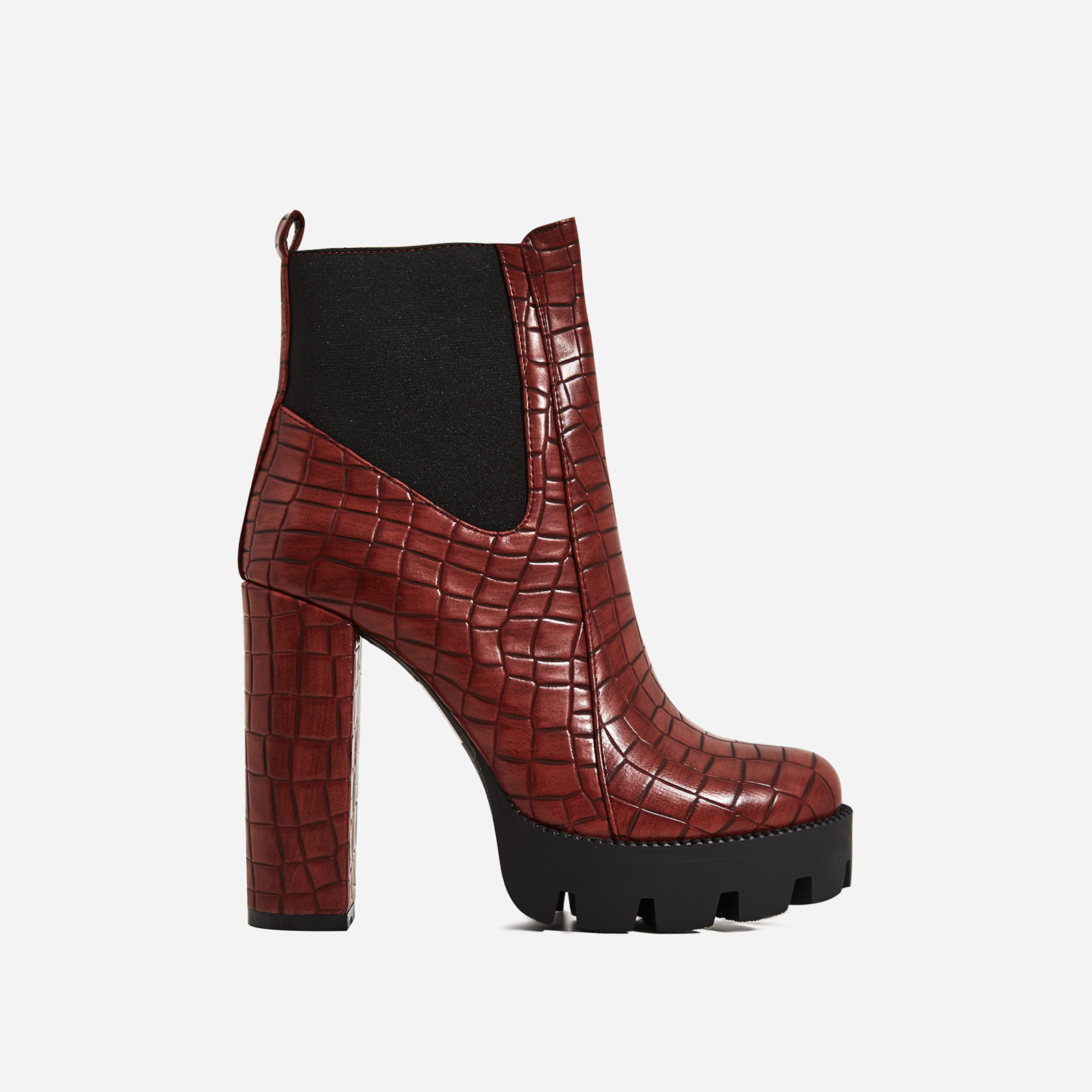 Atlas Platform Biker Boot I Burgundy Croc Print Faux Leather