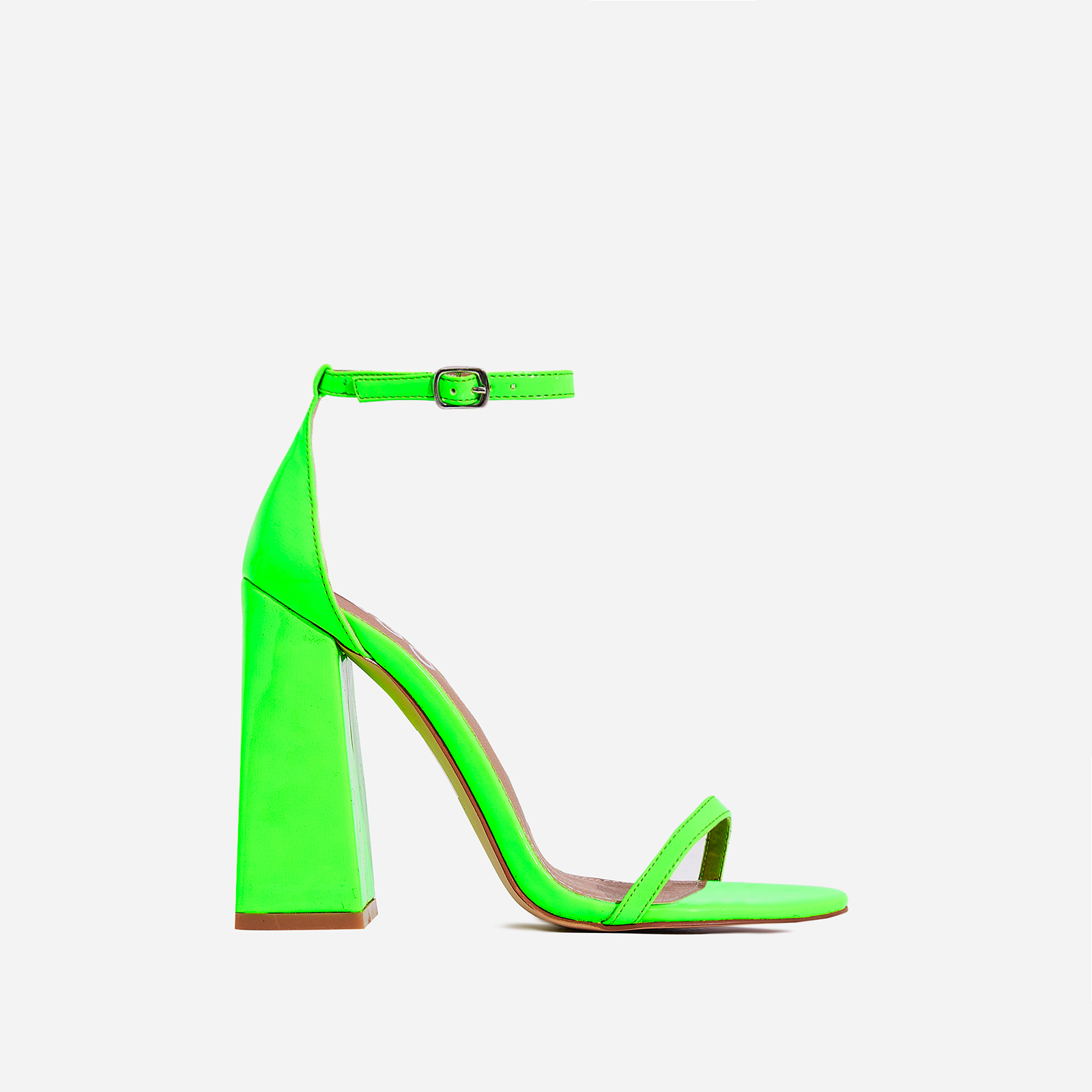 47cc68f9836f Atomic Square Block Heel In Neon Green Patent