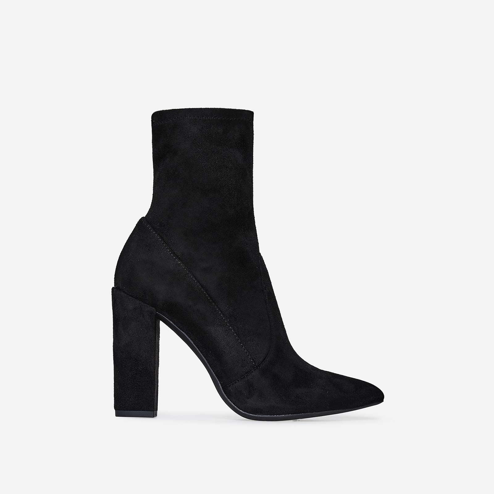 Avery Block Heel Sock Boot In Black Faux Suede