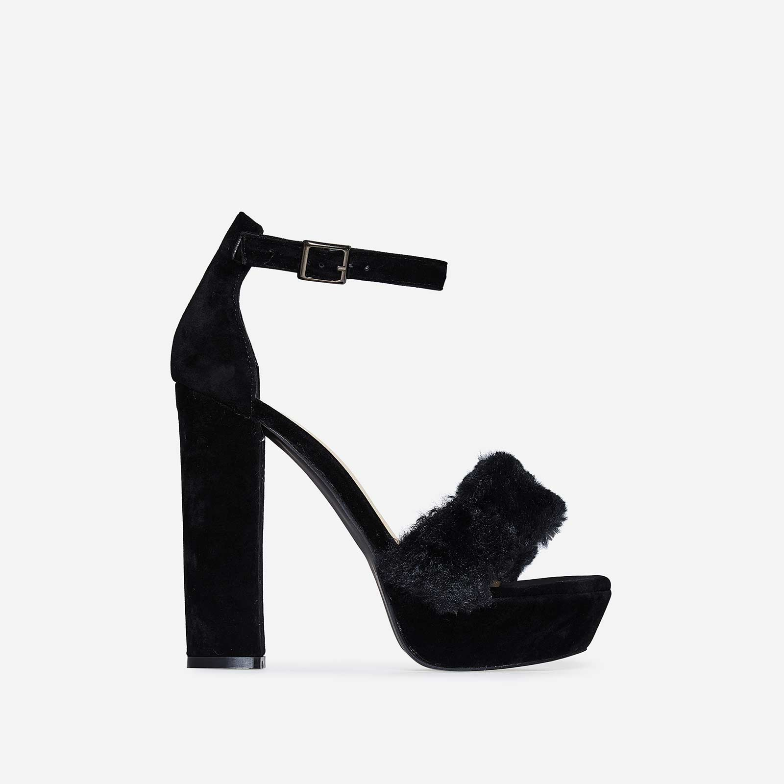 Avril Faux Fur Platform Heel In Black Faux Suede