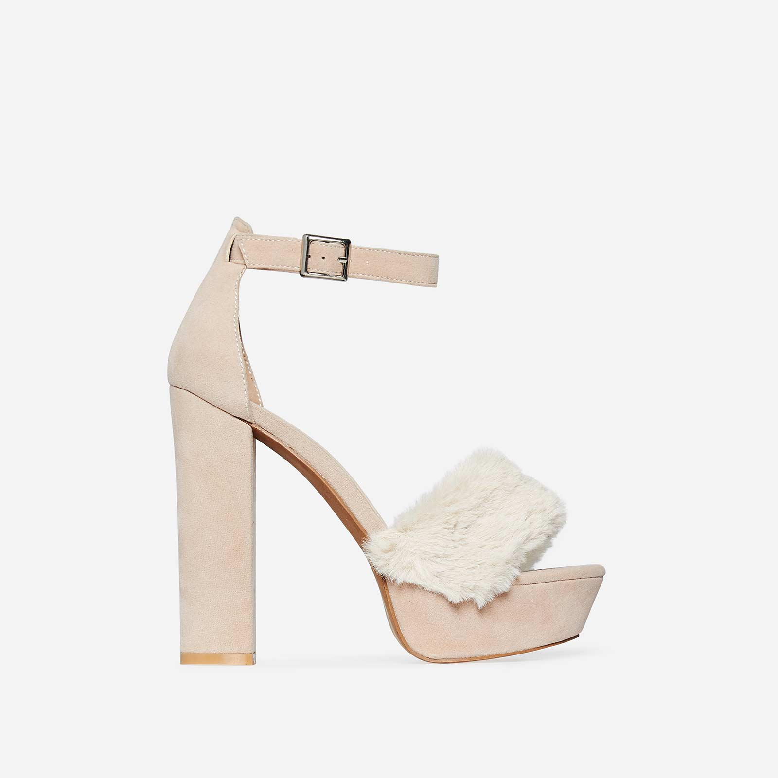 Avril Faux Fur Platform Heel In Nude Faux Suede