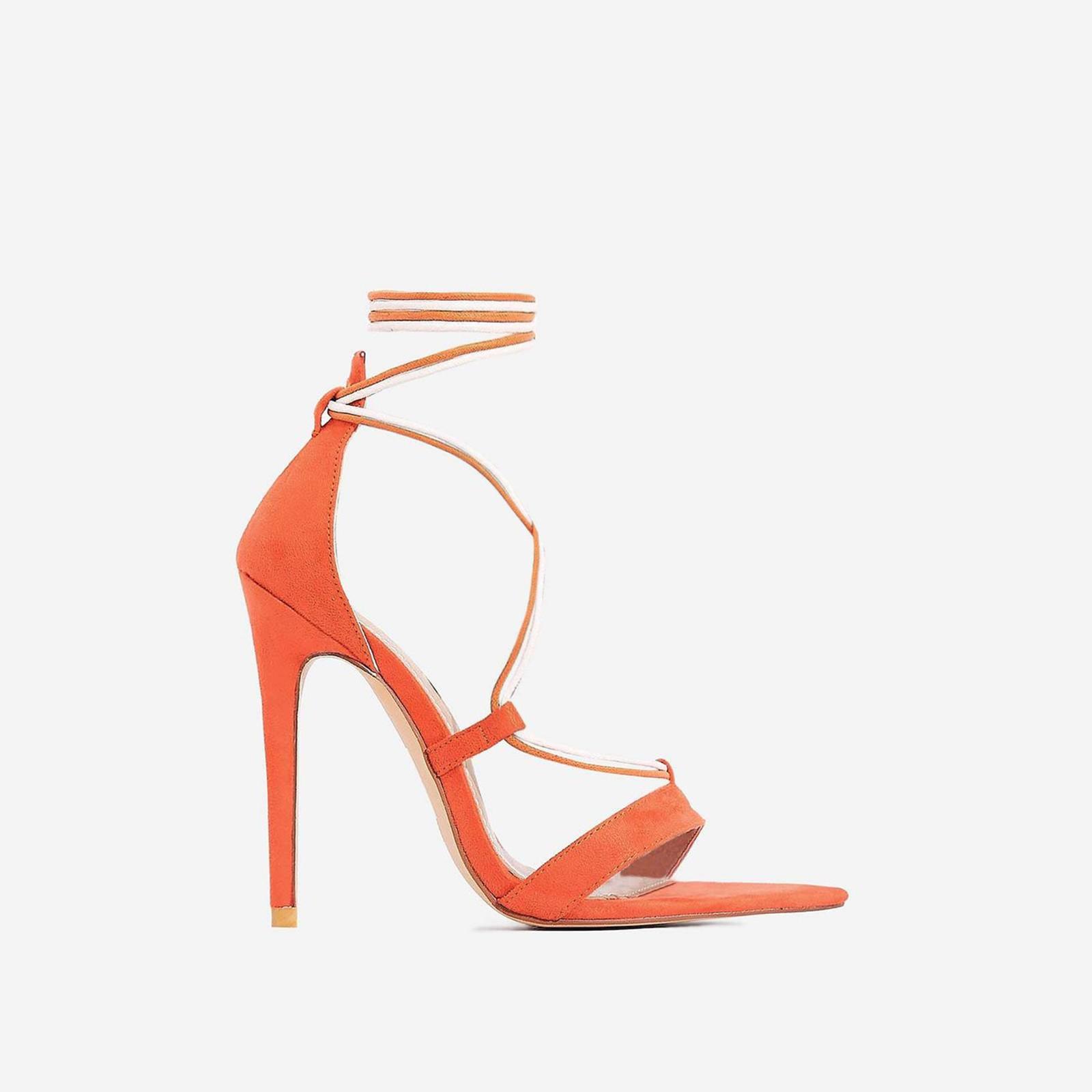 Azalea Double Lace Up Heel In Orange Faux Suede