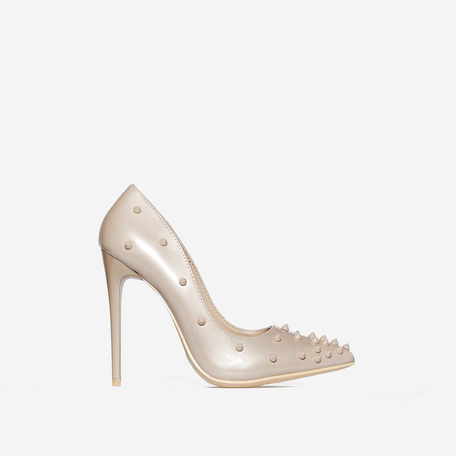 Bronson Studded Detail Court Heel In Nude Patent