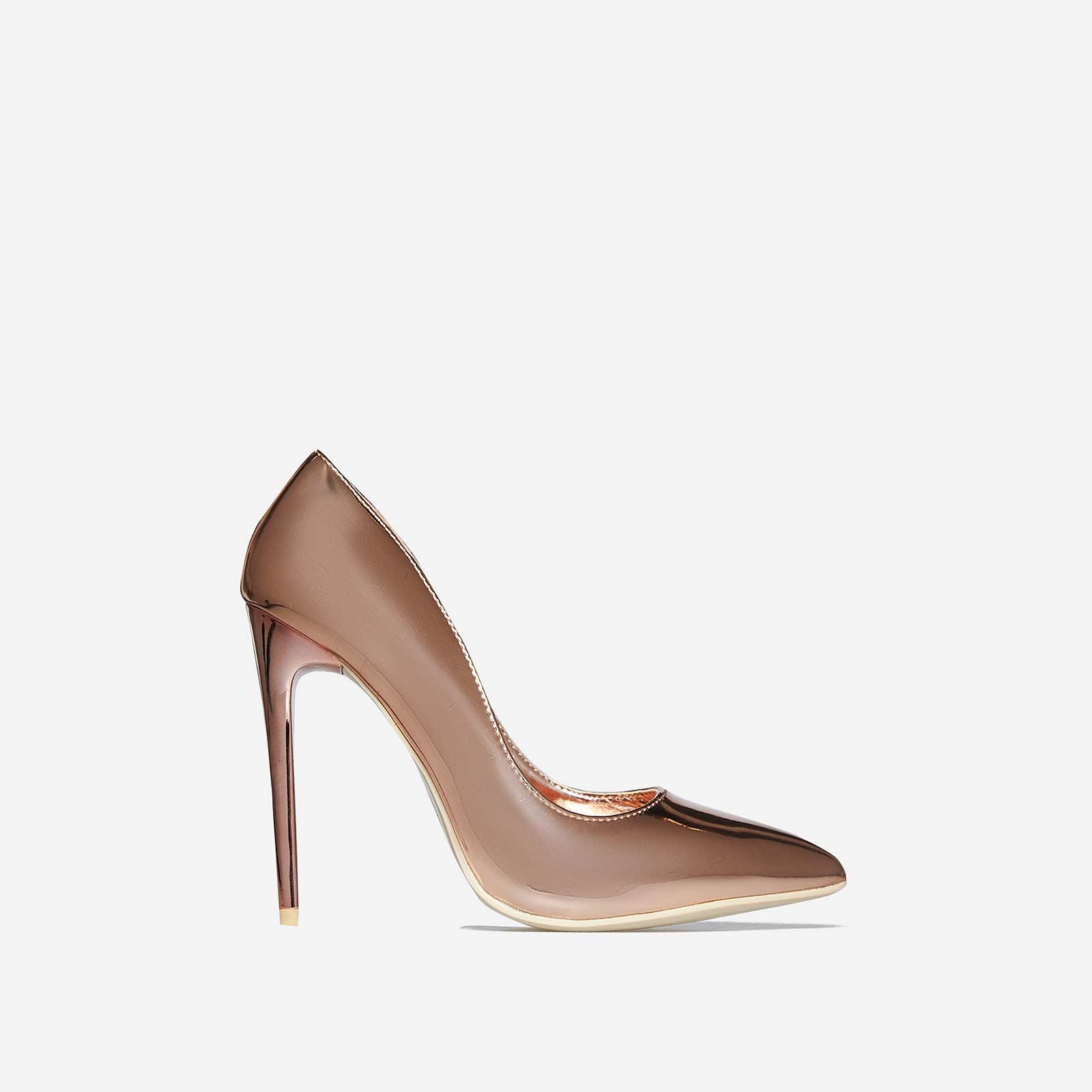Bronte Court Heel In Rose Gold Patent