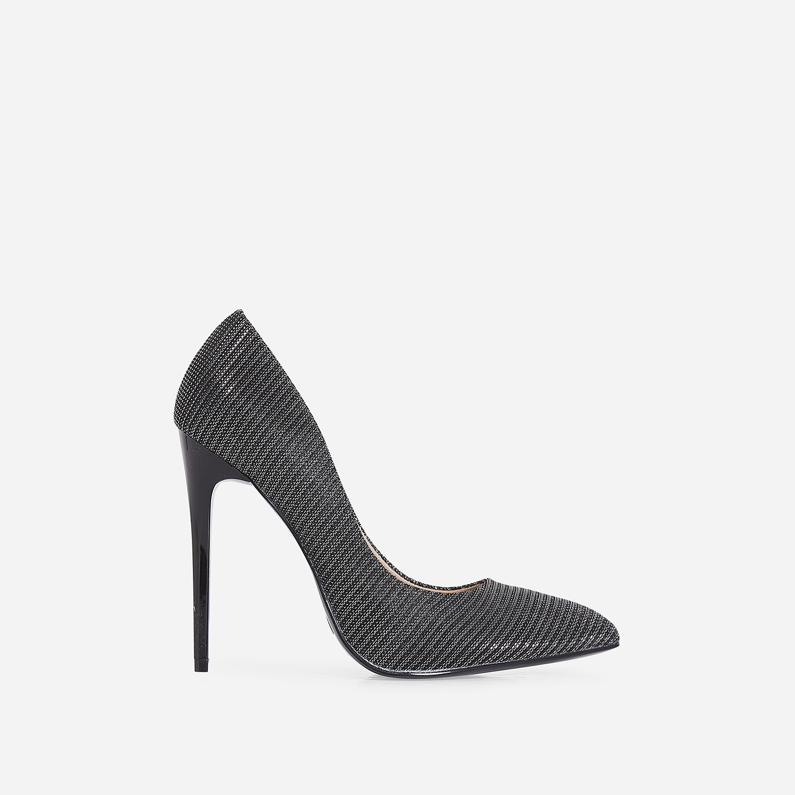 Mira Court Heel In Metallic Black Fabric