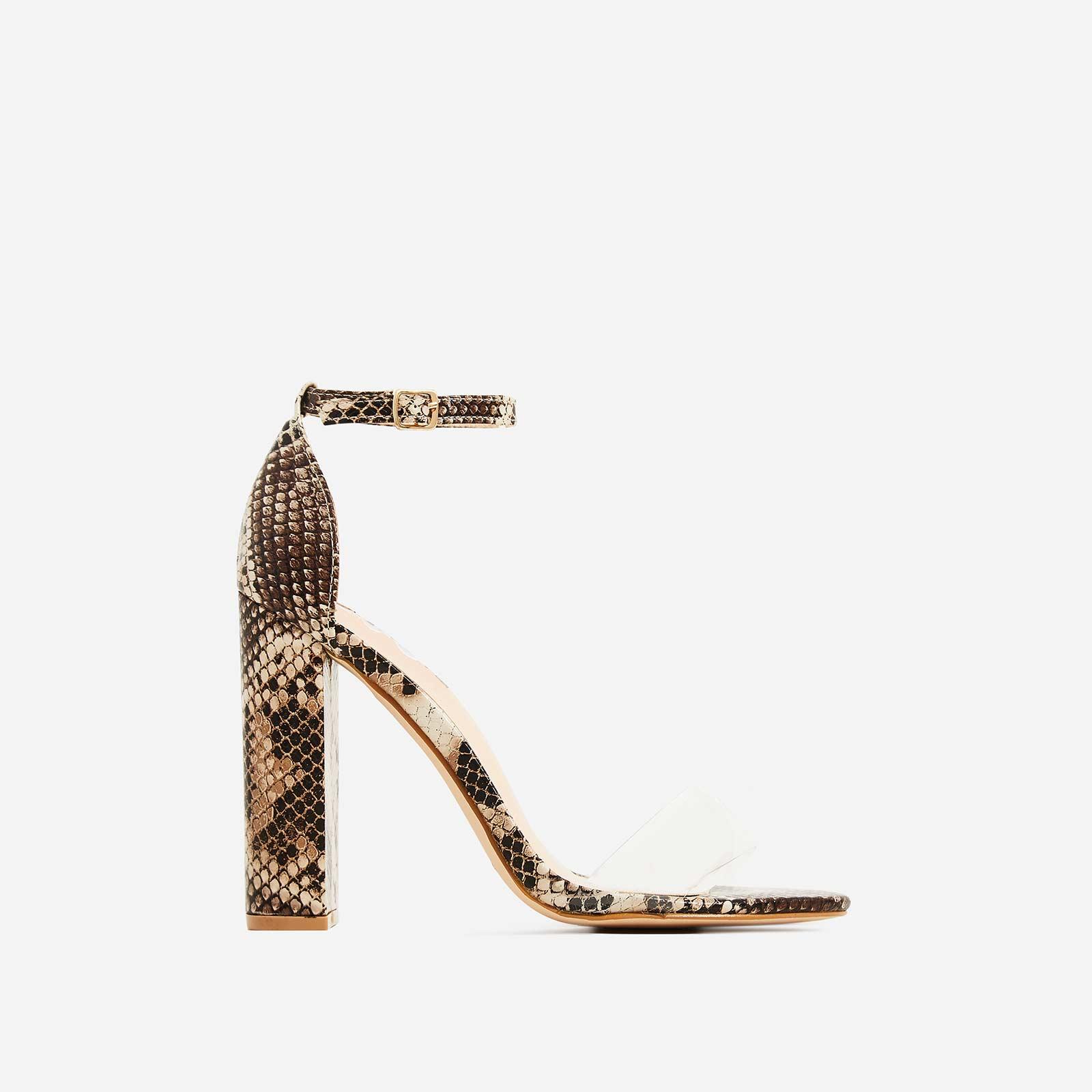 Carmela Block Heel Perspex Heel In Nude Snake Print Faux Leather