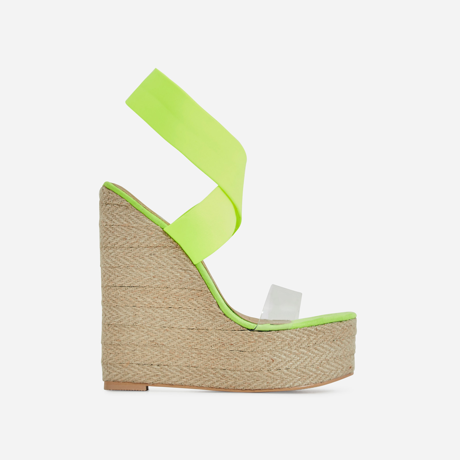 Bailey Perspex Platform Elasticated Espadrille Wedge Block Heel In Lime Green Faux Suede