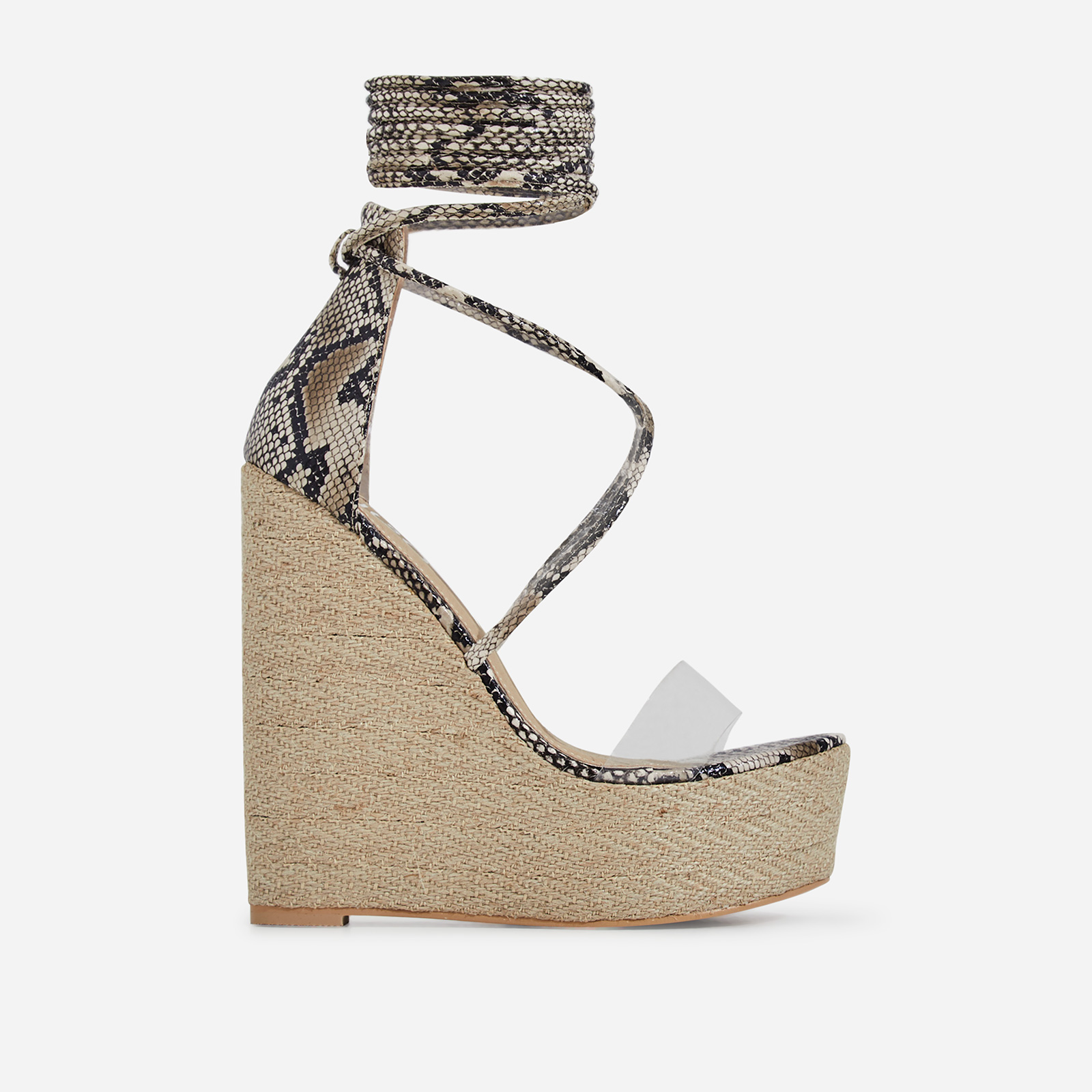 Aliki Perspex Platform Lace Up Espadrille Wedge Block Heel In Nude Snake Print Faux Leather