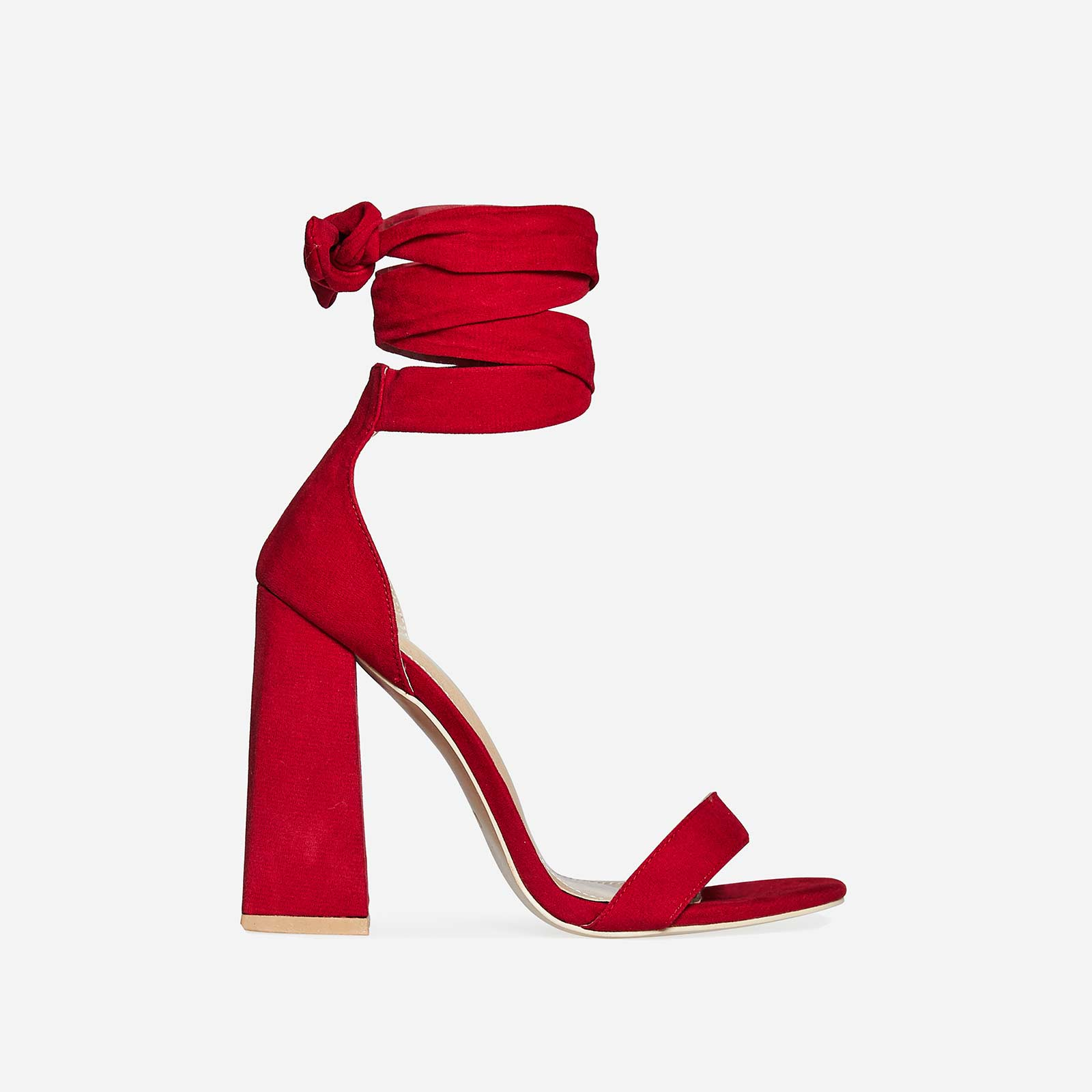Barca Barely There Flared Block Heel In Red Faux Suede