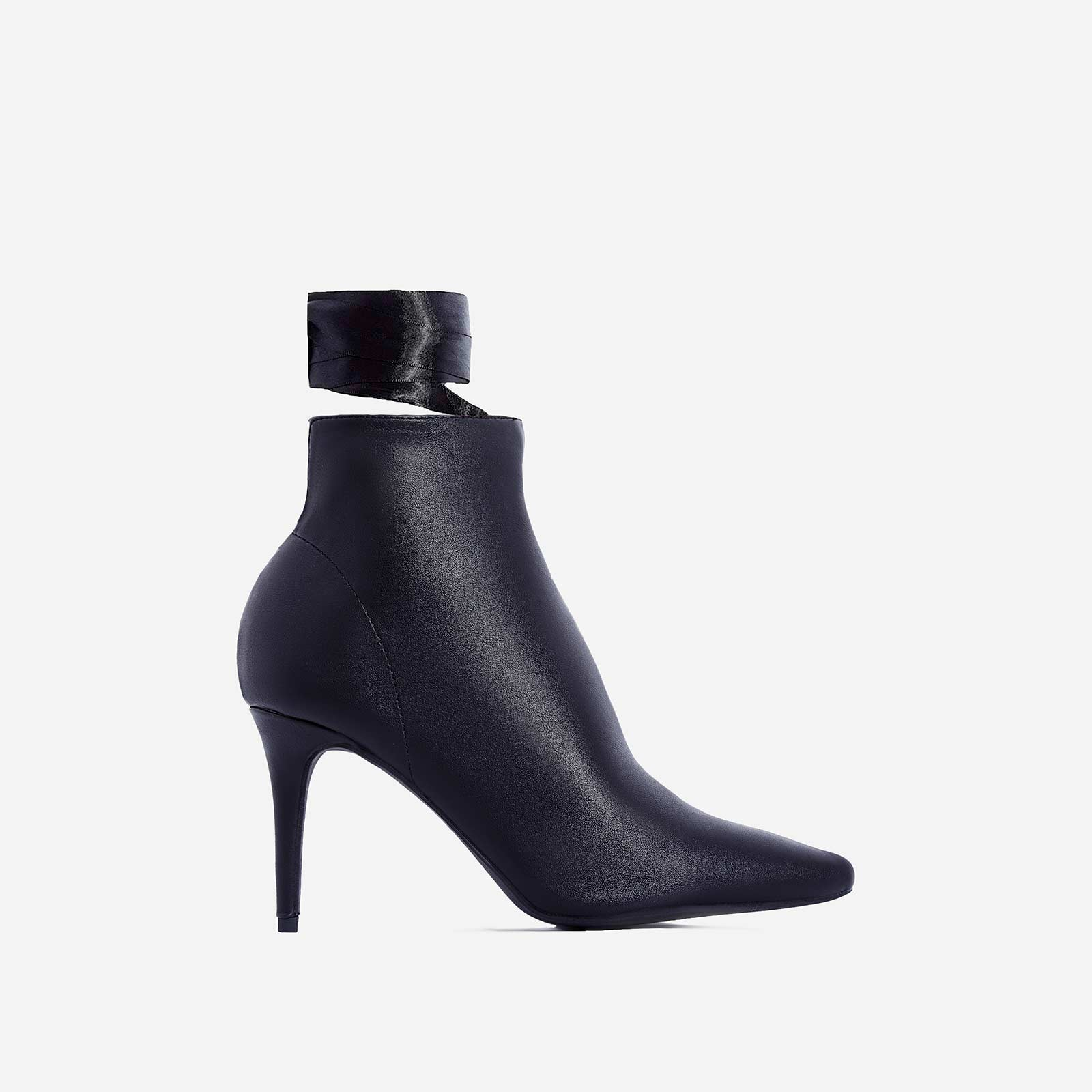 Becca Lace Up Ankle Boot In Black Faux Leather