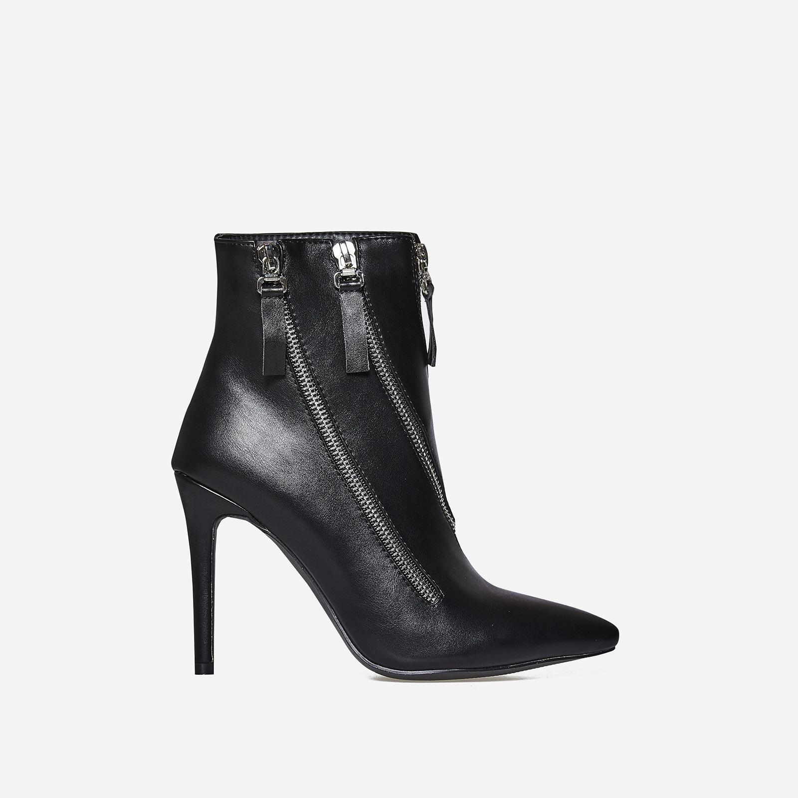 Belfry Triple Zip Detail Ankle Boot In Black Faux Leather