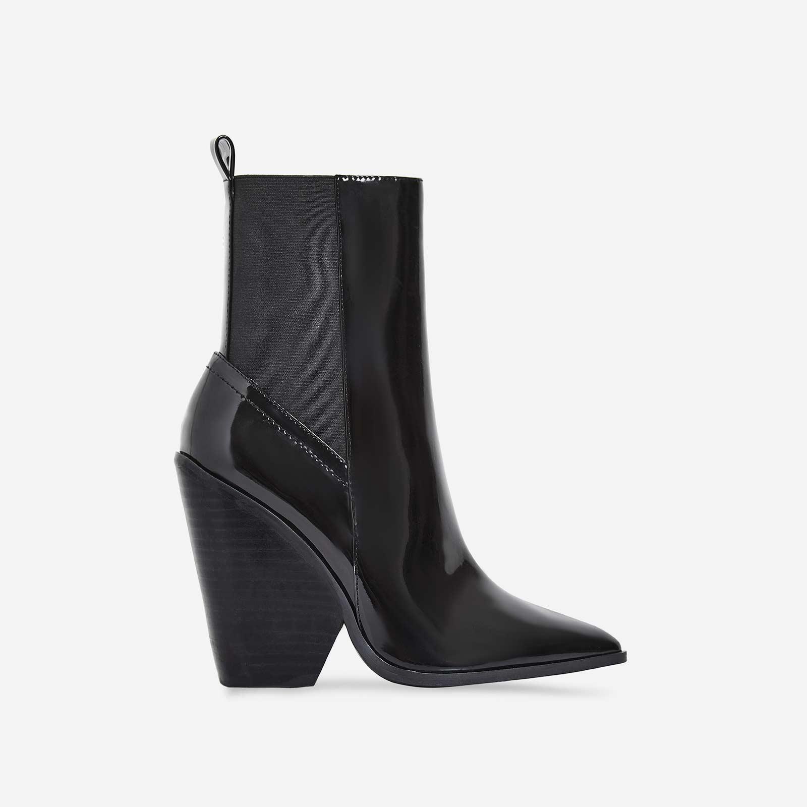 Bella Black Heel Ankle Boot In Black Patent