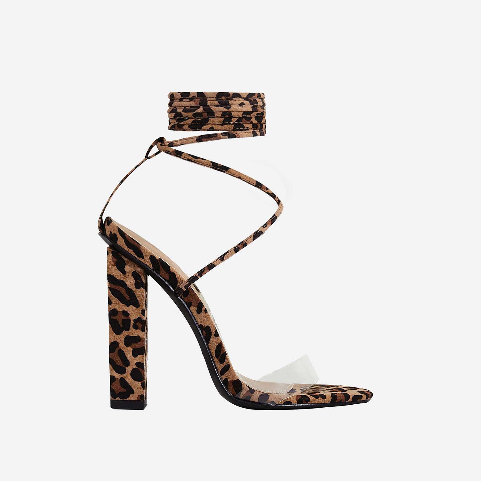 Bello Perspex Lace Up Block Heel In Tan Leopard Print Faux Suede