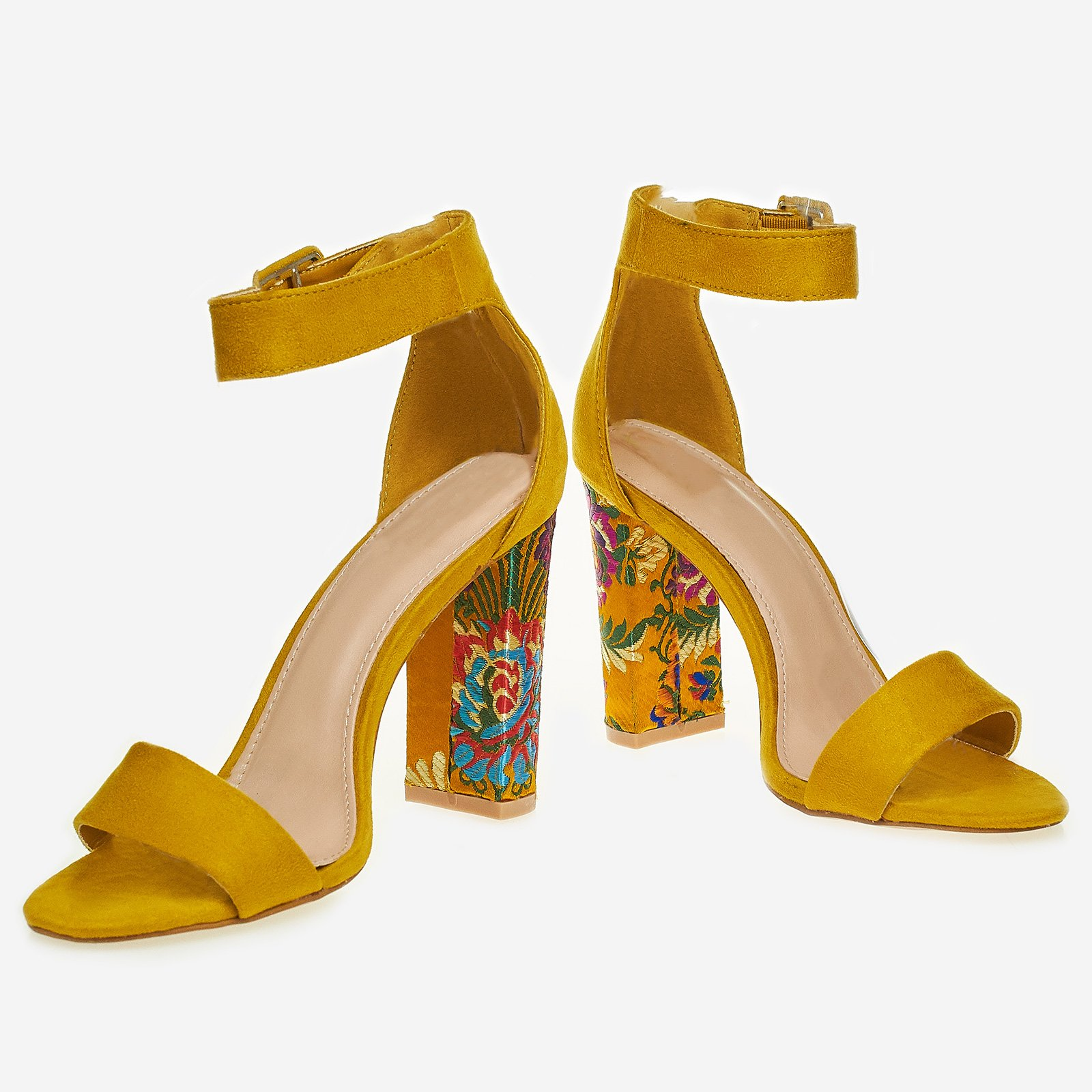 Stella Floral Block Heel In Yellow Faux Suede