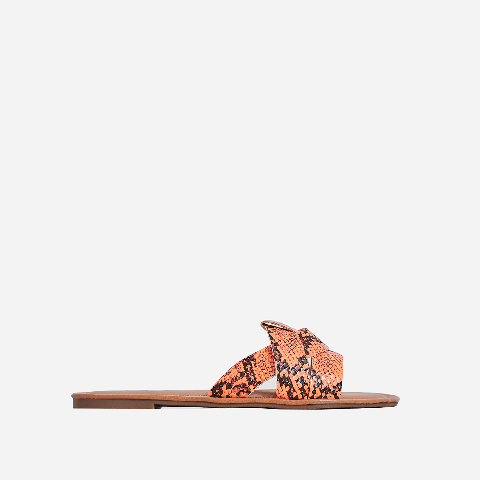 Billie Flat Sandal In Orange Snake Print Faux Leather