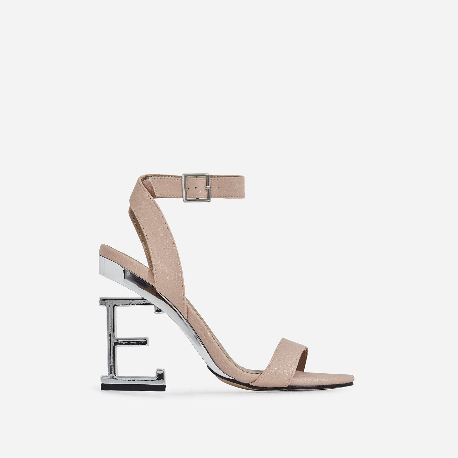 Birthday Letter E Heel In Nude Glitter