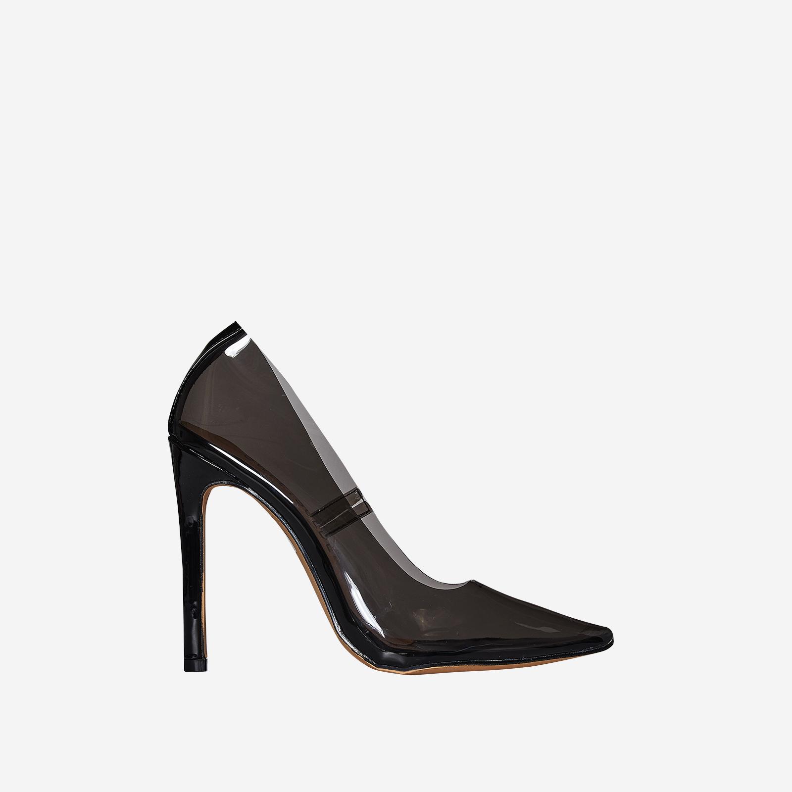 Virginia Perspex Court Heel In Black Patent