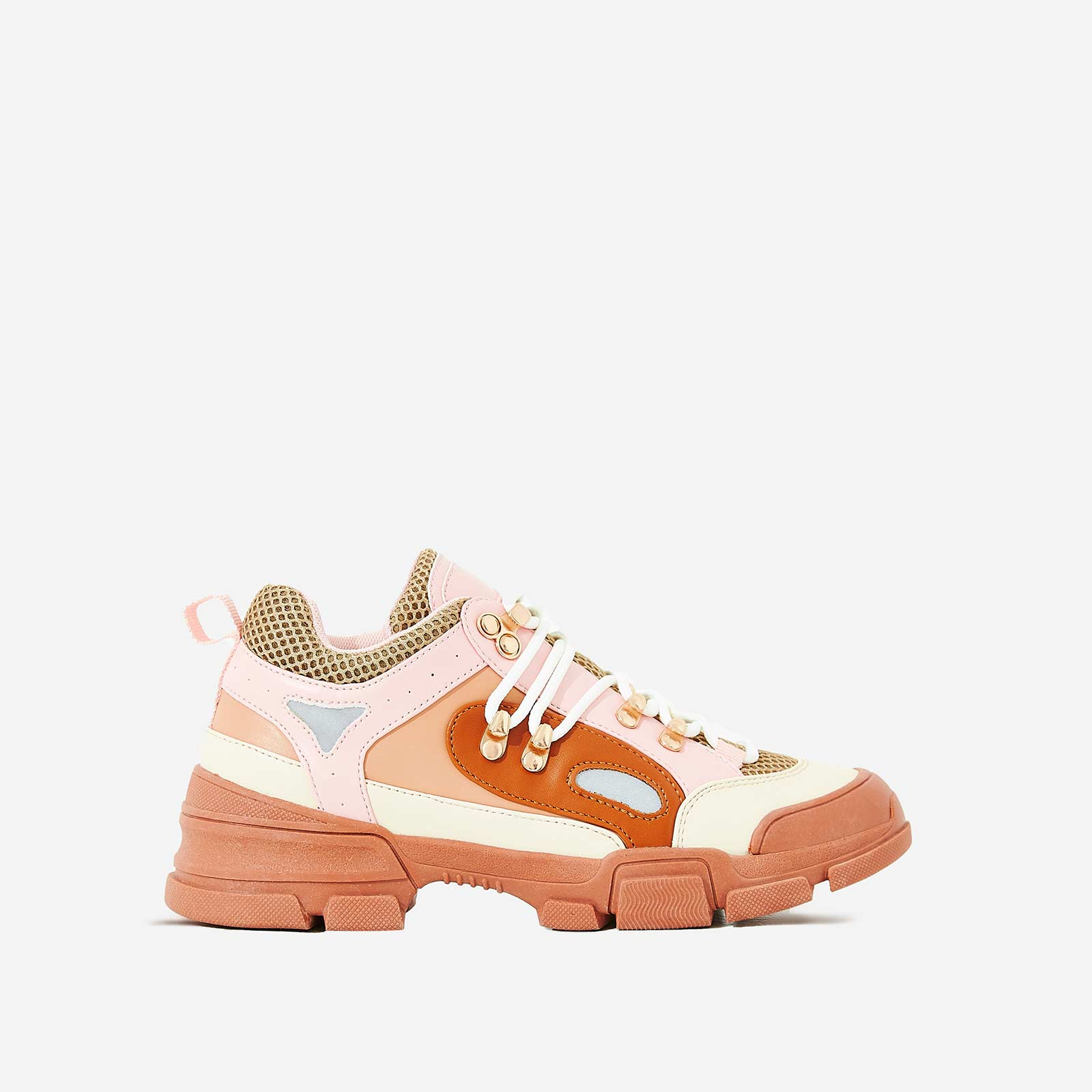 Shorty Hiker Trainer In Pink Faux Leather