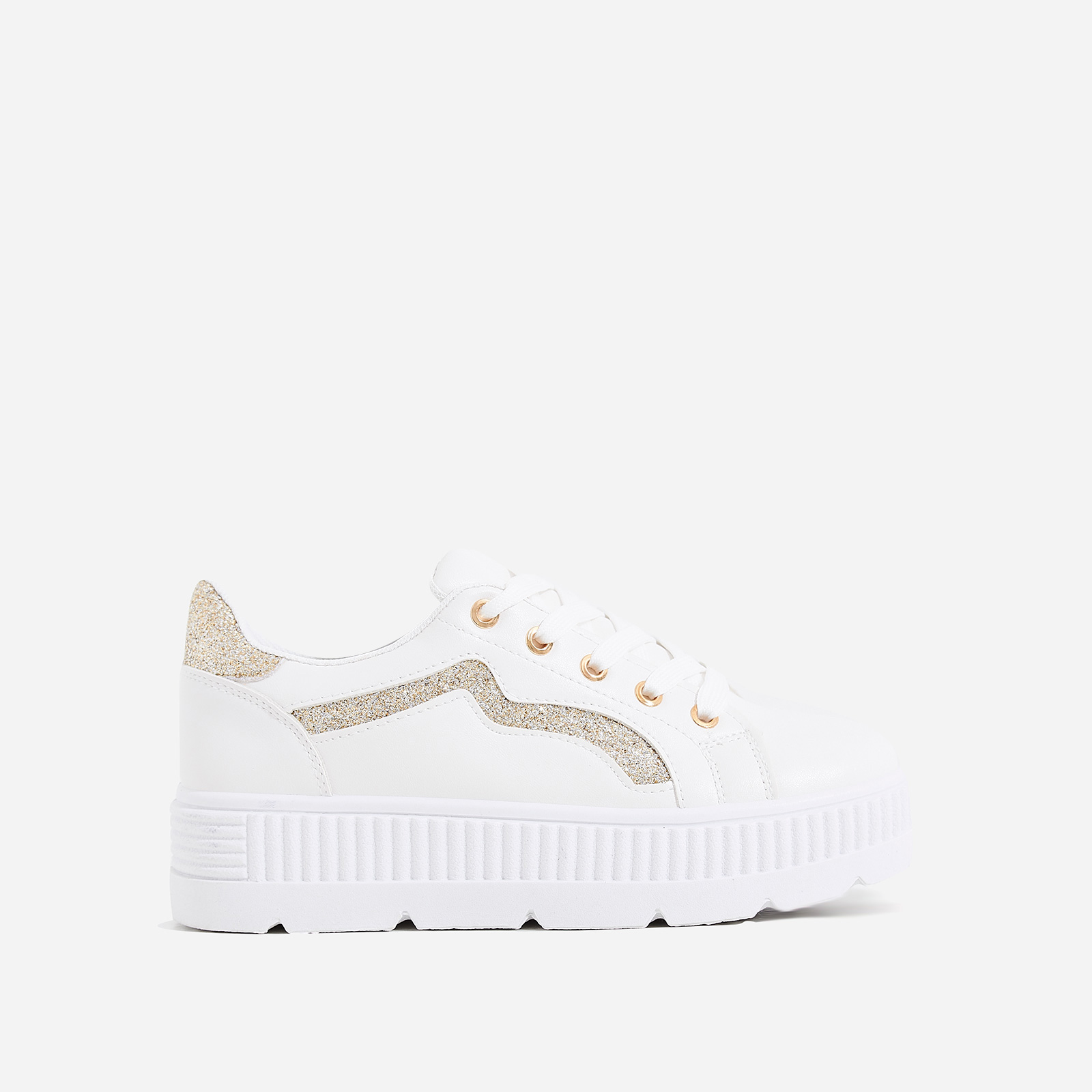 Ren Gold Glitter Detail Chunky Sole Trainer In White