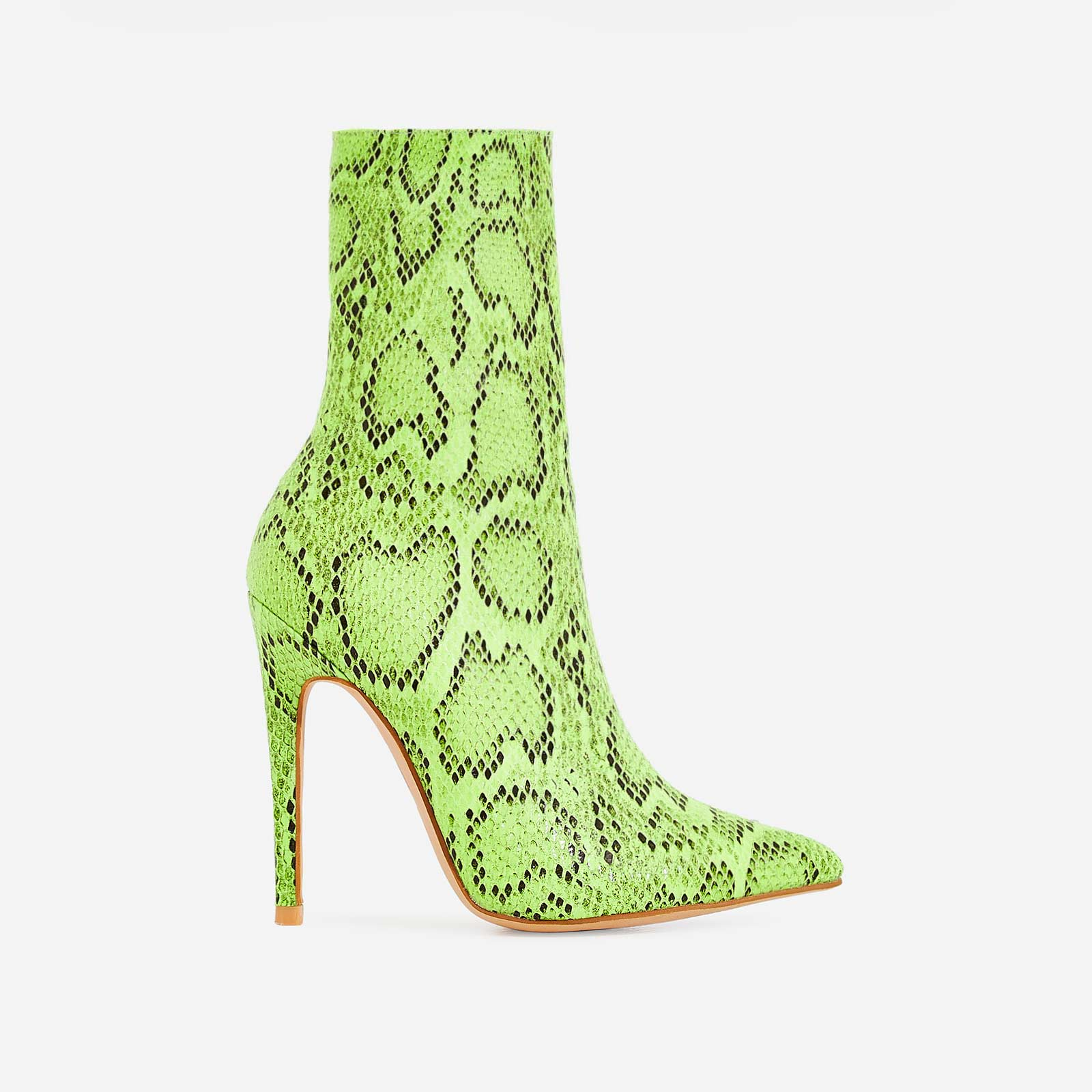 Boa Ankle Sock Boot In Neon Green Snake Print Faux Leather f91904d43