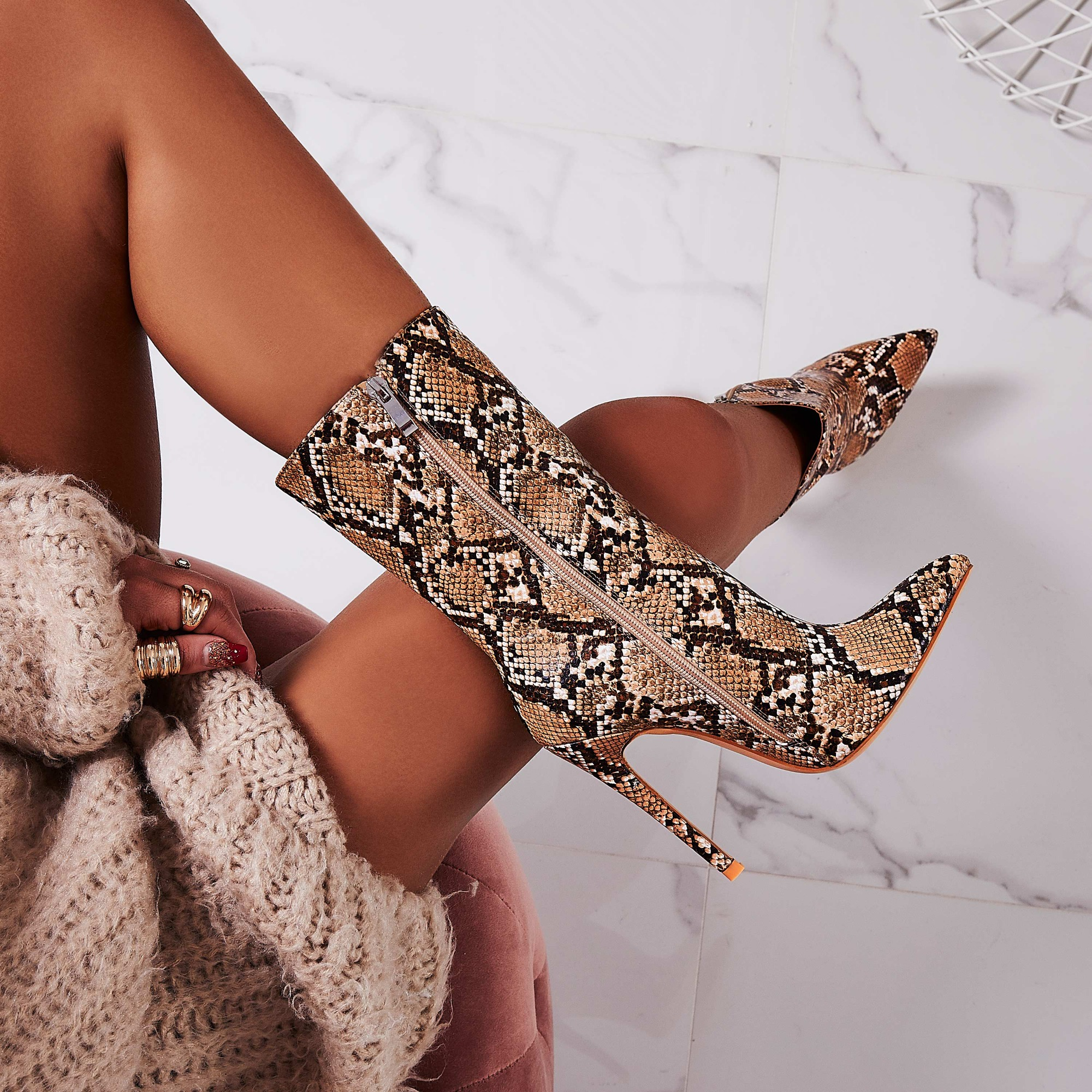 Boa Ankle Sock Boot In Nude Snake Print Faux Leather