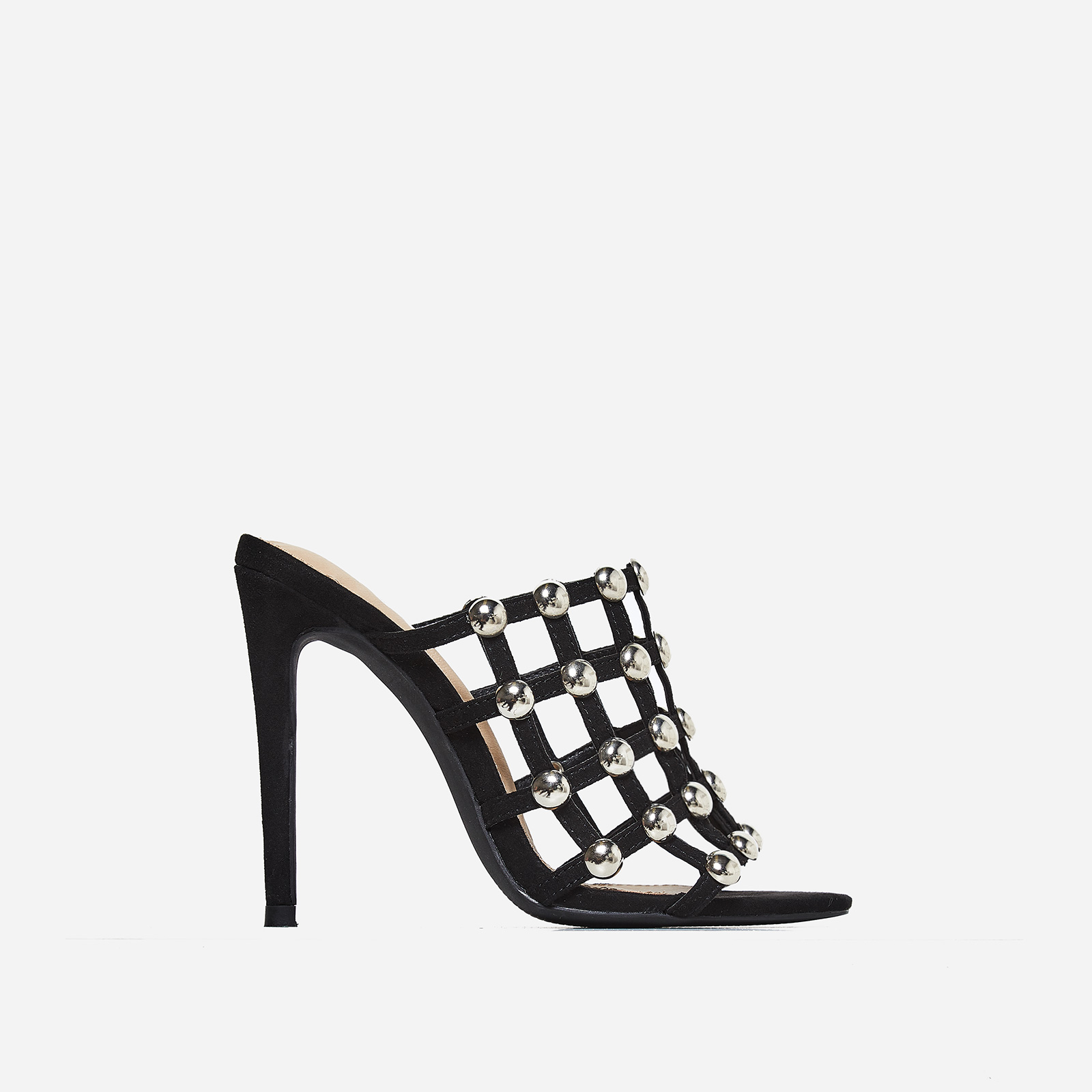 Boufal Studded Detail Mule In Black Faux Suede