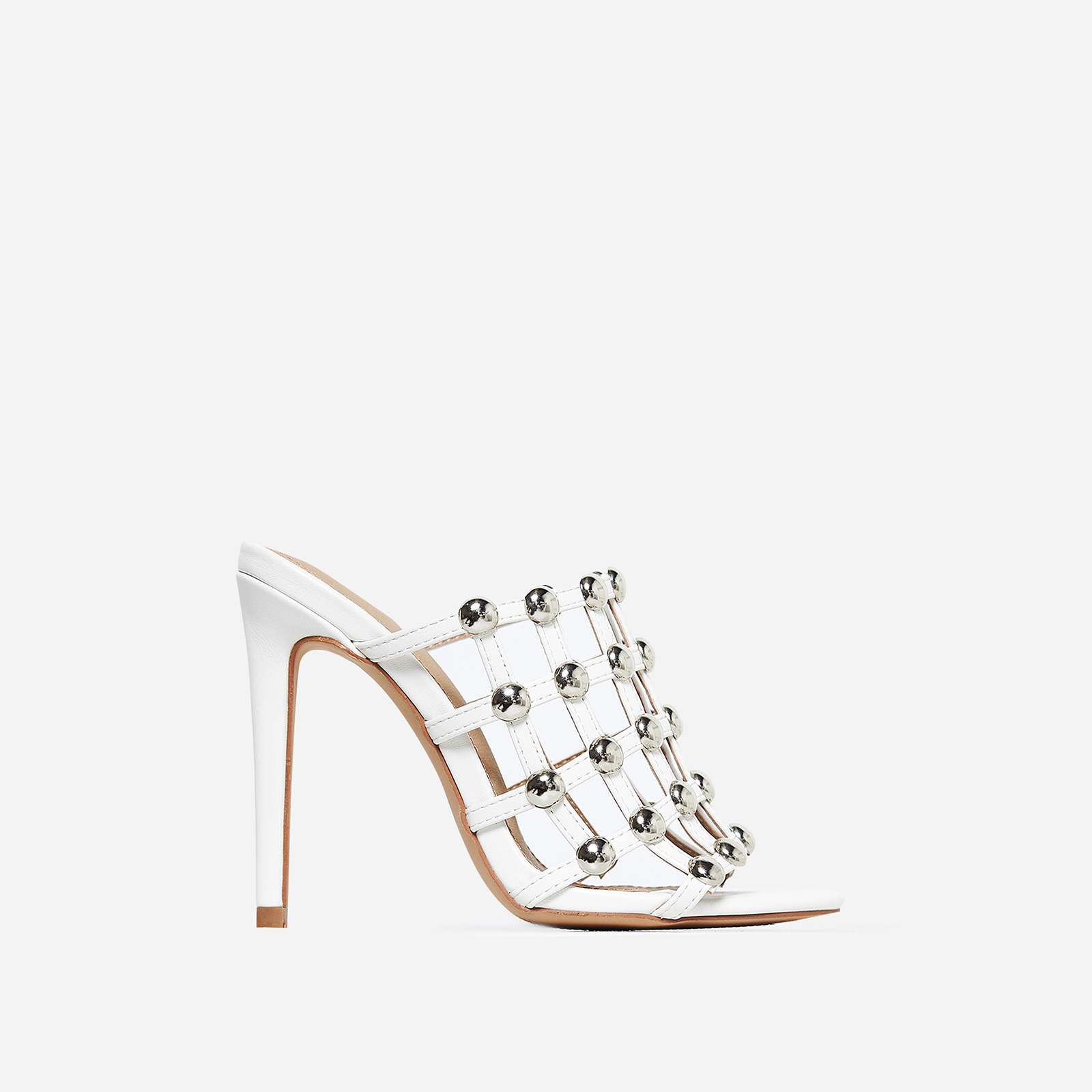 Boufal Studded Detail Mule In White Faux Leather