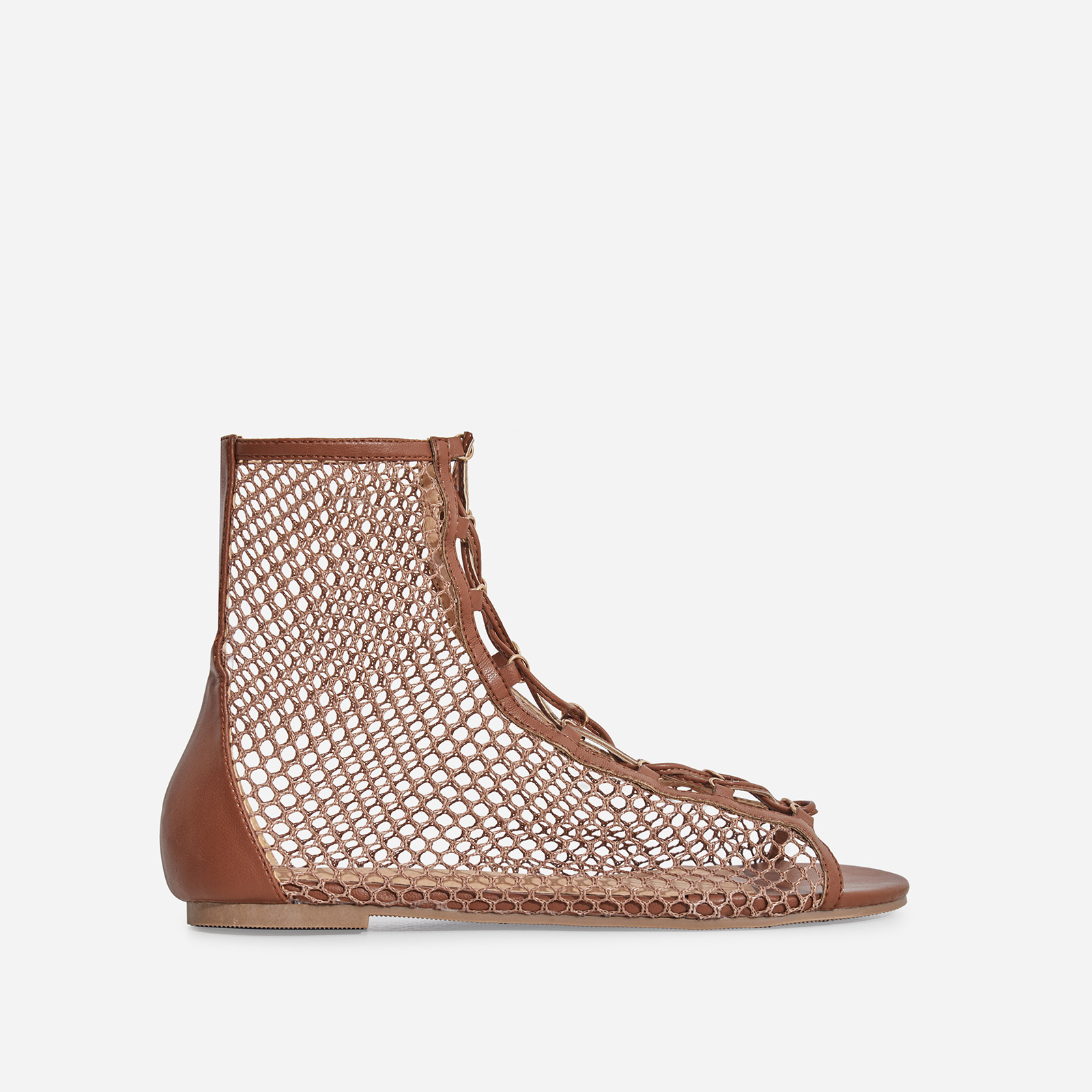 Boya Peep Toe Mesh Lace Up Gladiator Sandal In Tan Faux Leather