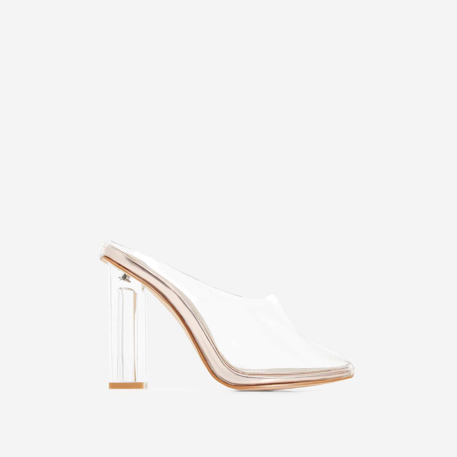 Brea Block Heel Perspex Heel In Rose Gold Patent