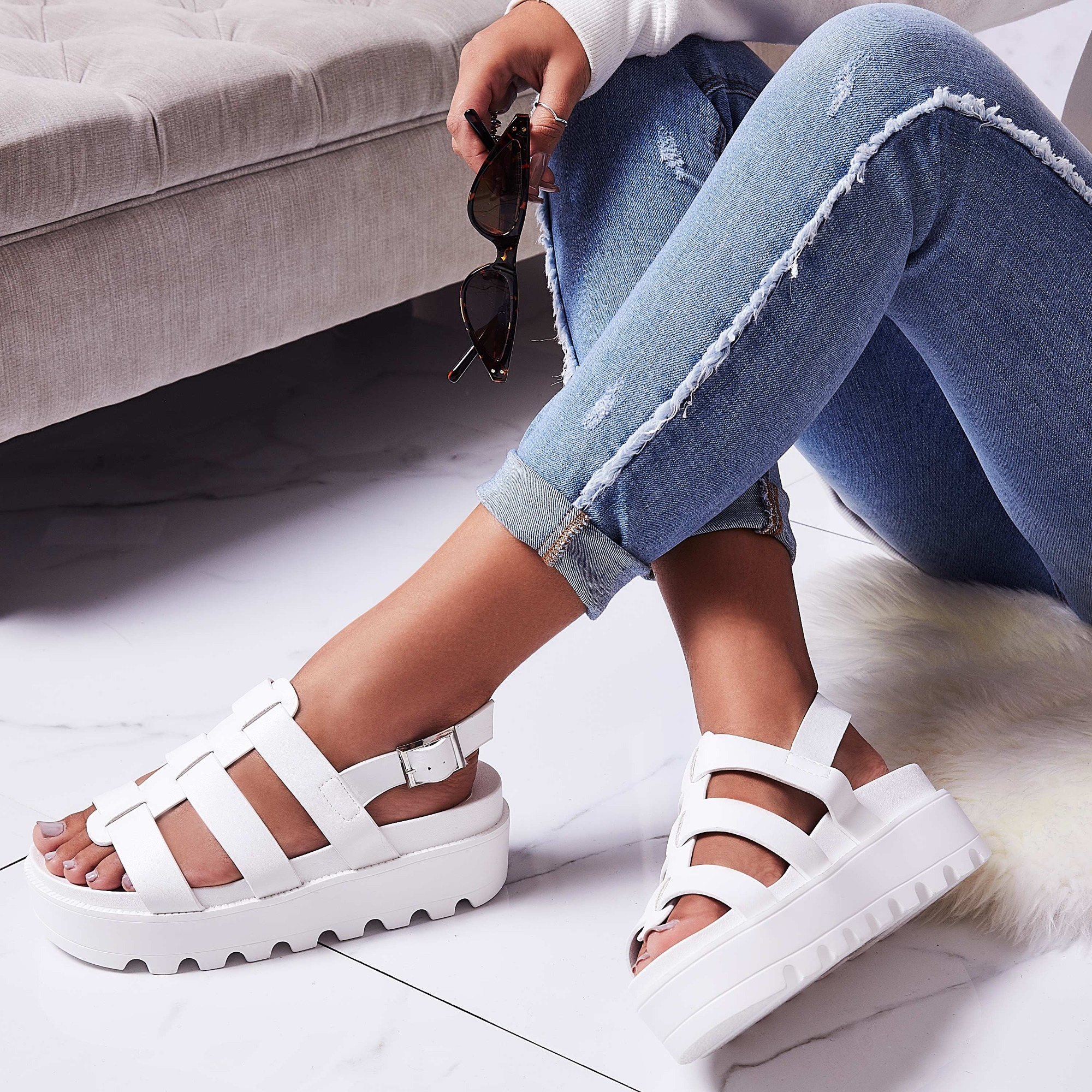 Zander Chunky Sole Sandal In White Faux Leather