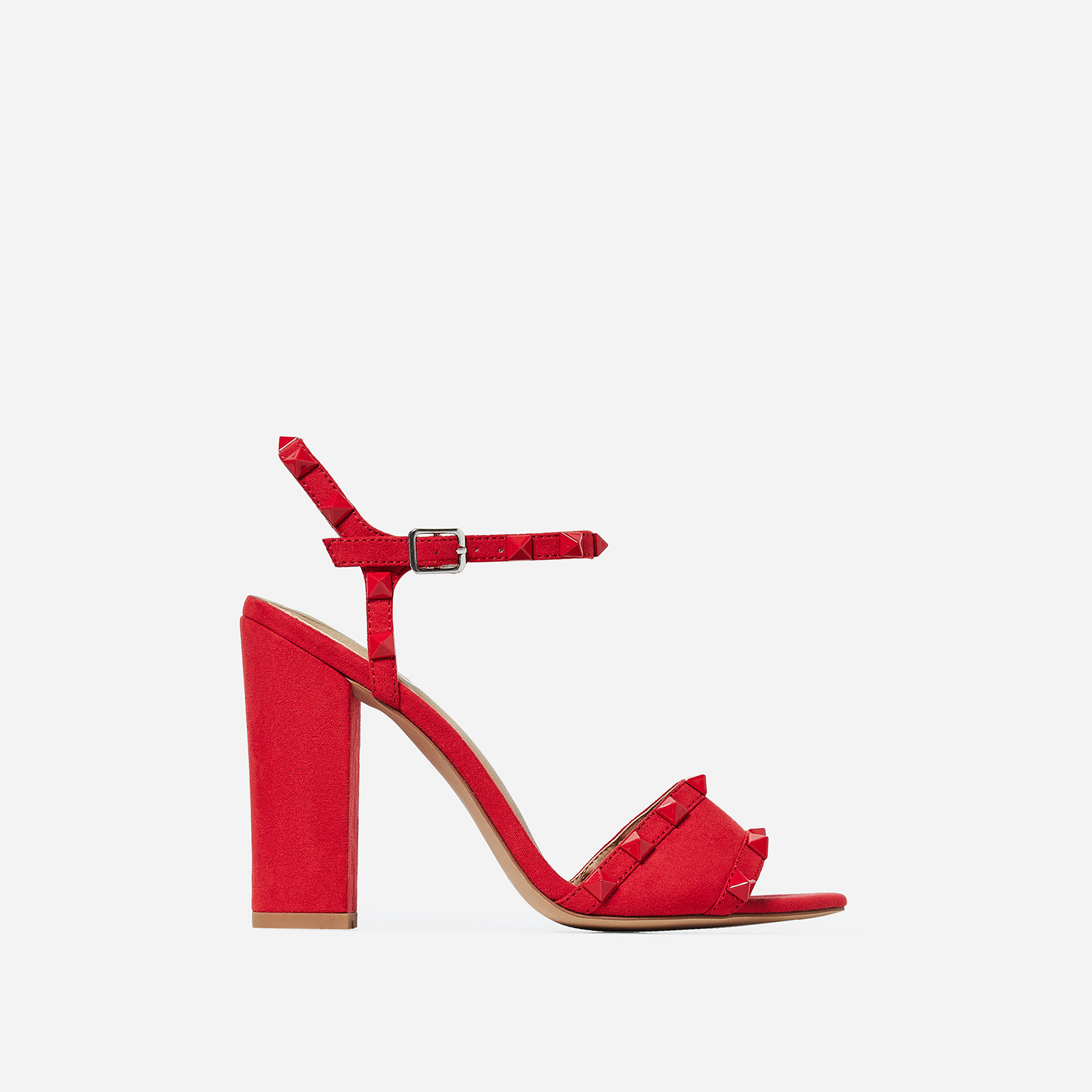 Britney Studded Detail Heel In Red Faux Suede